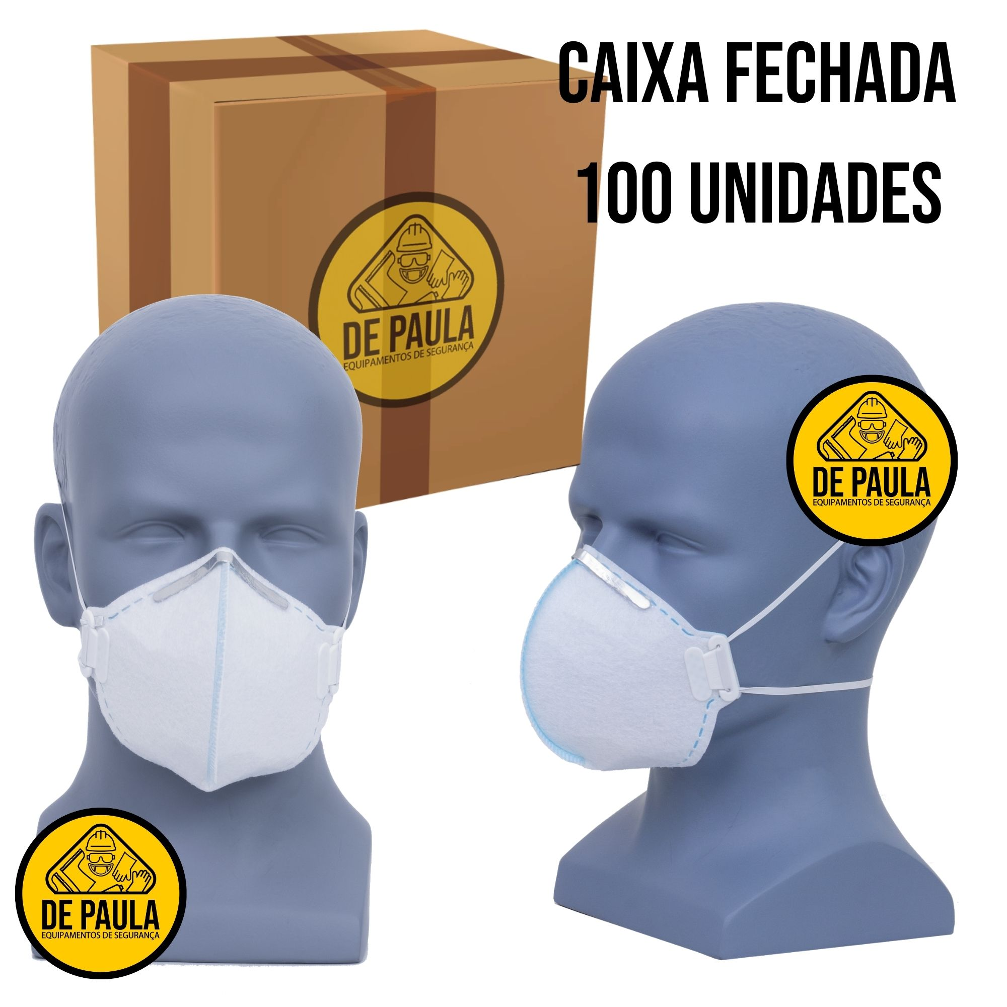 100 unid MÁSCARA DESCARTÁVEL PFF1 S/ VÁLVULA LUBEKA BRANCO  - DE PAULA EPI