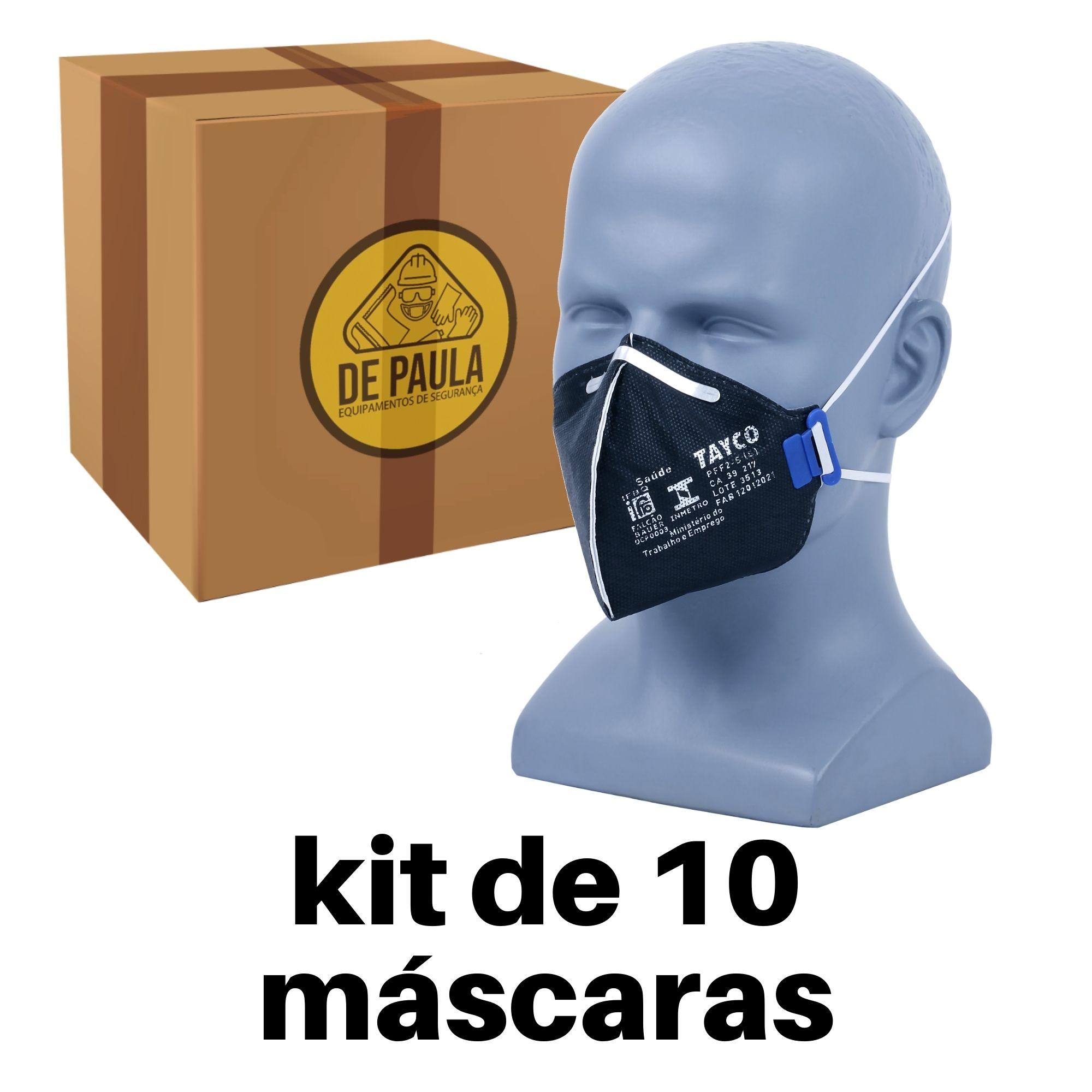 10 UNIDADES - PFF2-S CARVÃO ATIVADO -------PRETA TAYCO  - DE PAULA EPI