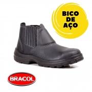 BOTINA DE ELÁSTICO PRETA  ACOLCHOADA COM BICO DE AÇO - BRACOL - CA:26.450