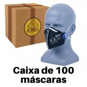 CAIXA COM 100 UN - MASCARA PFF2 -S  SEM VALVULA CARVÃO ATIVADO PRETA TAYCO