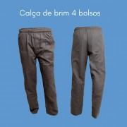 CALÇA PROFISSIONAL TRABALHO DE BRIM CINZA