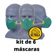 kit de 06 unidades de MÁSCARA DESCARTÁVEL PFF3 SEM VÁLVULA VERDE LUBEKA -CA38.834