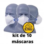 kit de 10 unid - Mascara descartavel Pff2 -S sem valvula BRANCA TAYCO