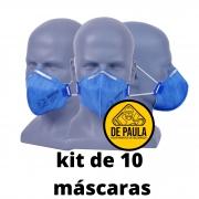 kit de 10 unid Mascara  PFF2 -S sem valvula AZUL TAYCO