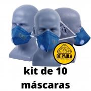Kit de 10 unid Mascara Respiratoria PFF2 com valvula MASKFACE  AIR SAFETY
