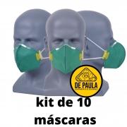 kit de 10 unidades de MÁSCARA DESCARTÁVEL PFF3 SEM VÁLVULA VERDE LUBEKA -CA38.834