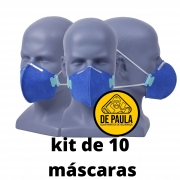 Kit de 10 unidades MÁSCARA DESCARTÁVEL PFF2 -S  AZUL - SEM VALVULA - LUBEKA CA38.830