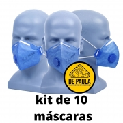 kit de 10 unidades máscara Pff2 (COM VALVULA ) AZUL - TAYCO