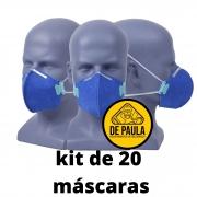 Kit de 20 unidades MÁSCARA DESCARTÁVEL PFF2 -S  AZUL - SEM VALVULA - LUBEKA CA38.830