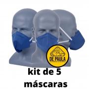 kit de 5 unid Mascara azul PFF2-S sem valvula Odor Organico carvão ativado Delta plus
