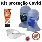 Kit de proteção saúde 2x PFF2 s/ valv, protetor pele, oculos