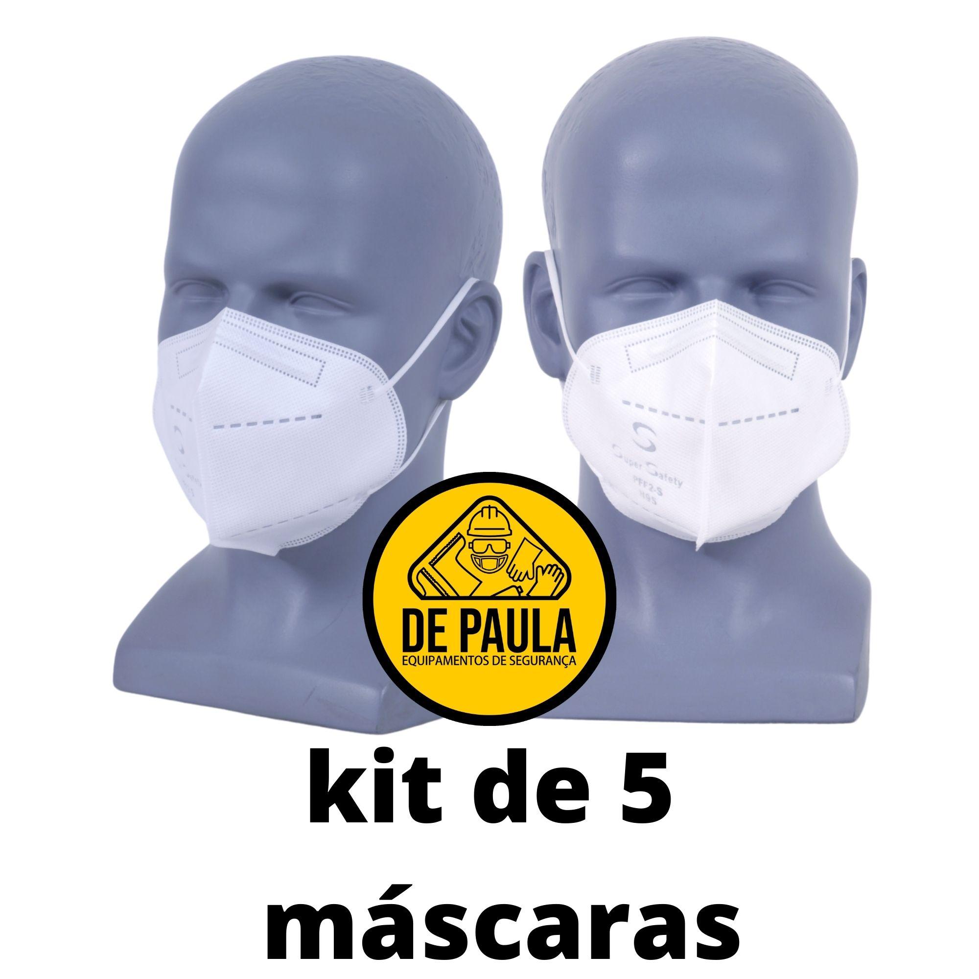 5 Un Máscara Sem Válvula PFF2 / N95 Branca CA: 44.241  - DE PAULA EPI