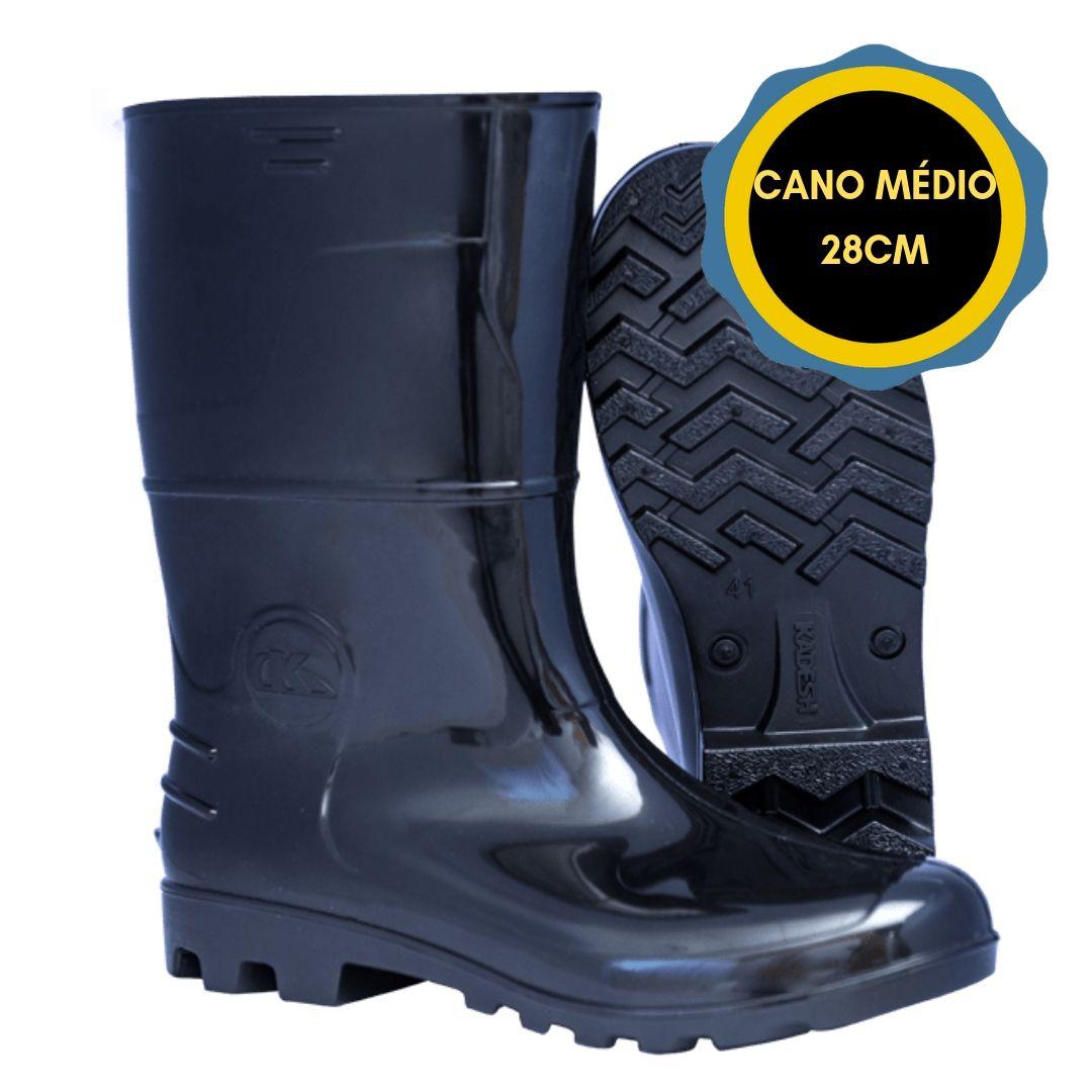 BOTA PVC SAFETY BOOTS CANO MEDIO 28CM CF - PRETA  - DE PAULA EPI