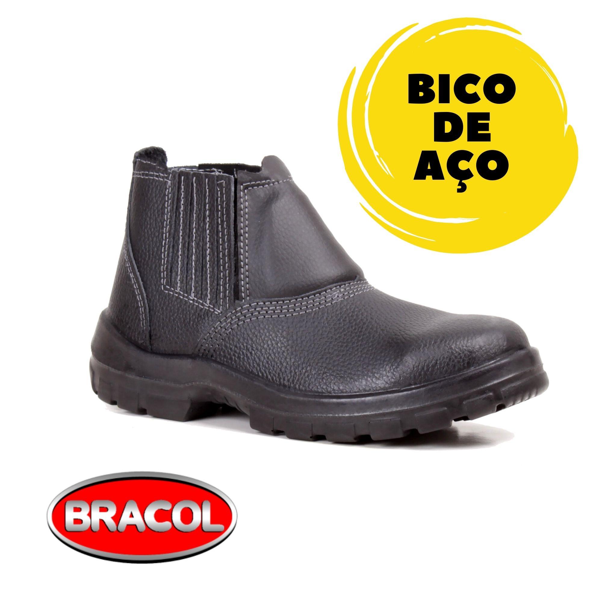 BOTINA DE ELÁSTICO PRETA  ACOLCHOADA COM BICO DE AÇO - BRACOL - CA:26.450  - DE PAULA EPI