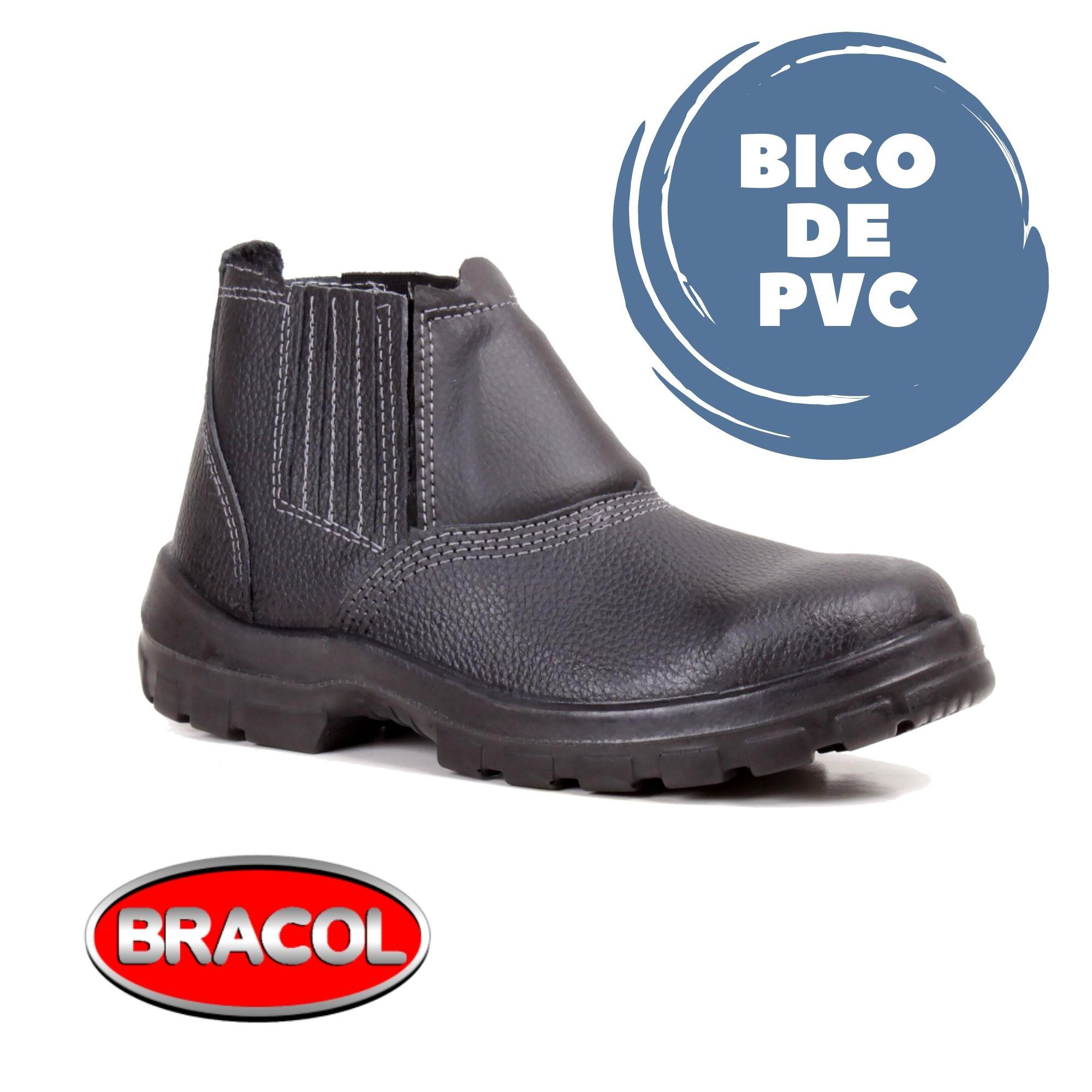 BOTINA DE ELÁSTICO PRETA ACOLCHOADA SEM METAL BICO DE PVC - CA DE ELETRICISTA - BRACOL  - DE PAULA EPI