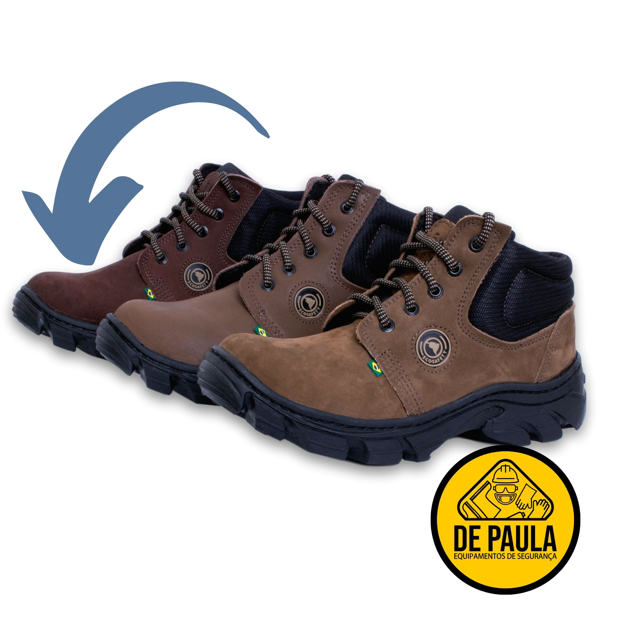 BOTINA PS106AP ADVENTURE ECOSAFETY MARROM  - DE PAULA EPI