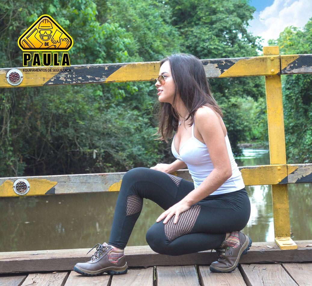 BOTINA SEGURANÇA FEMININA ADVENTURE ECOSAFETY BICO PVC ESTAMPA XADREZ  - DE PAULA EPIS
