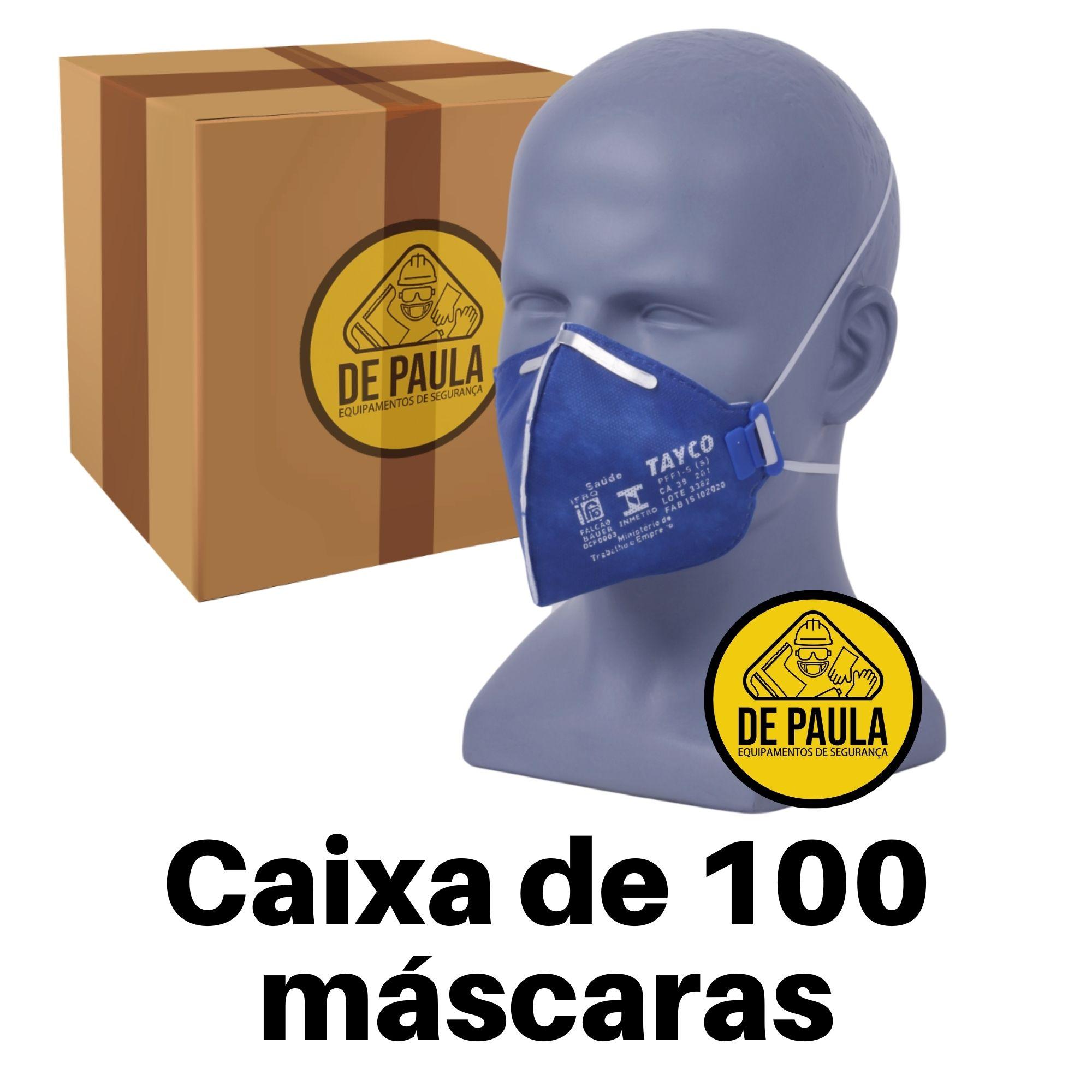 CAIXA COM 100 UN - MÁSCARA DESCARTÁVEL PFF1 SEM VÁLVULA  AZUL TAYCO  - DE PAULA EPI