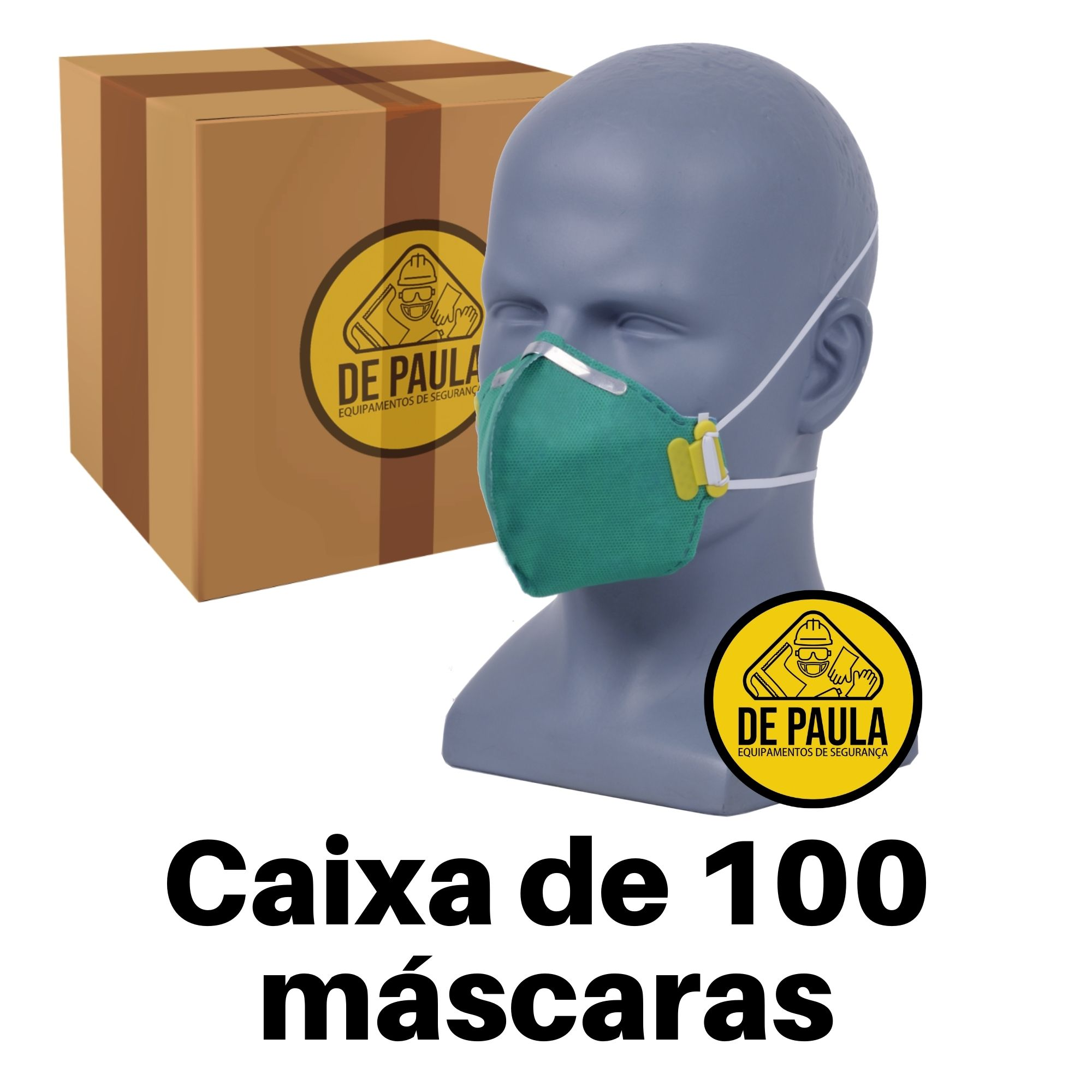 CAIXA COM 100 UN MASCARA DESCARTÁVEL ------PFF3 SEM VALVULA VERDE - LUBEKA - CA:38.834  - DE PAULA EPI