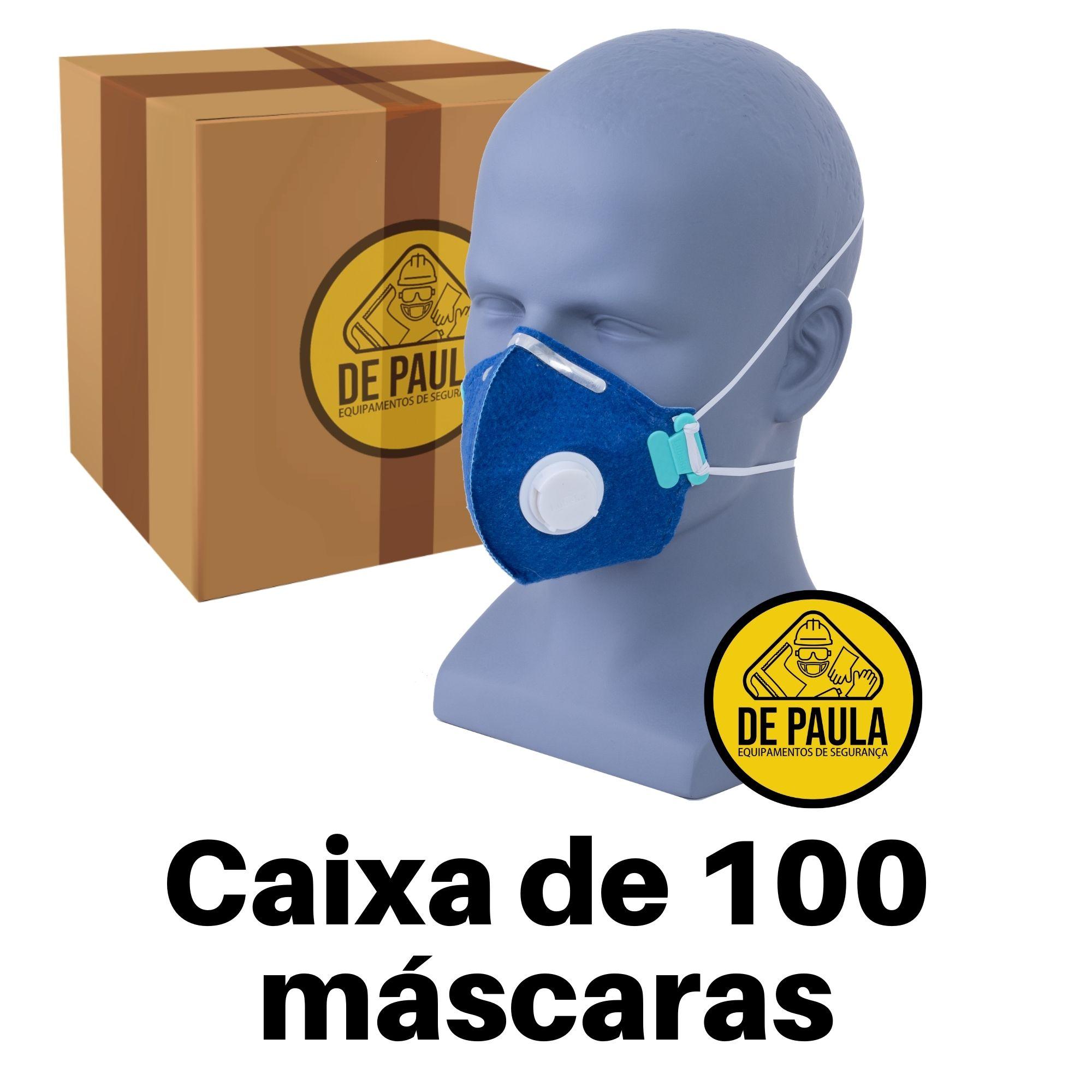 CAIXA  COM 100 UN RESPIRADOR DESCARTÁVEL PFF2 COM VALVULA LUBEKA CA38829  - DE PAULA EPI