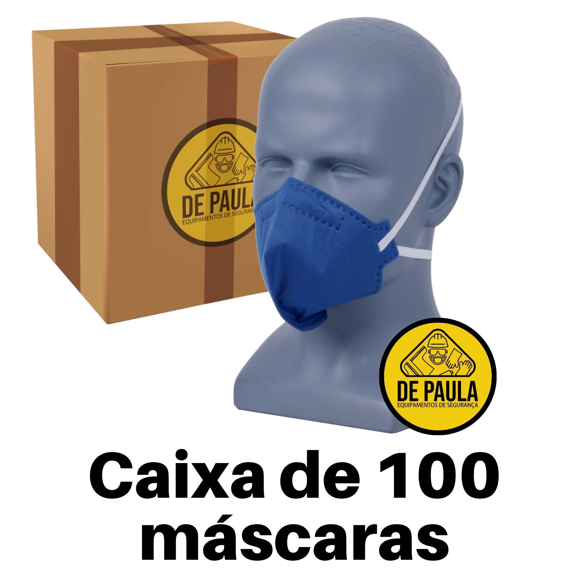 CAIXA COM 100 UNID - Mascara azul PFF2  -S sem valvula Odor Organico carvão ativado Delta plus  - DE PAULA EPI