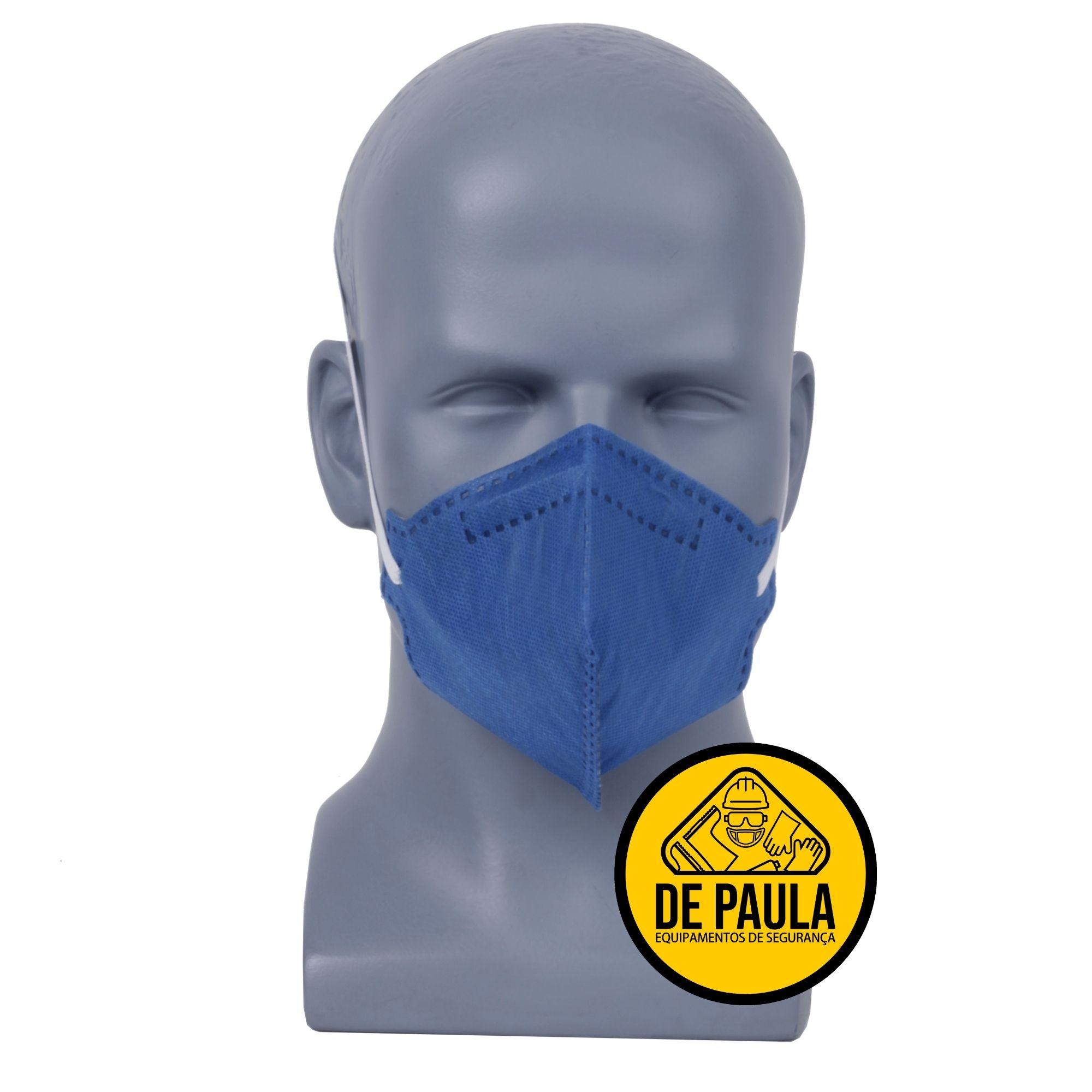 CAIXA COM 100 UNID - Mascara azul PFF2-S sem valvula Odor Organico carvão ativado Delta plus  - DE PAULA EPI