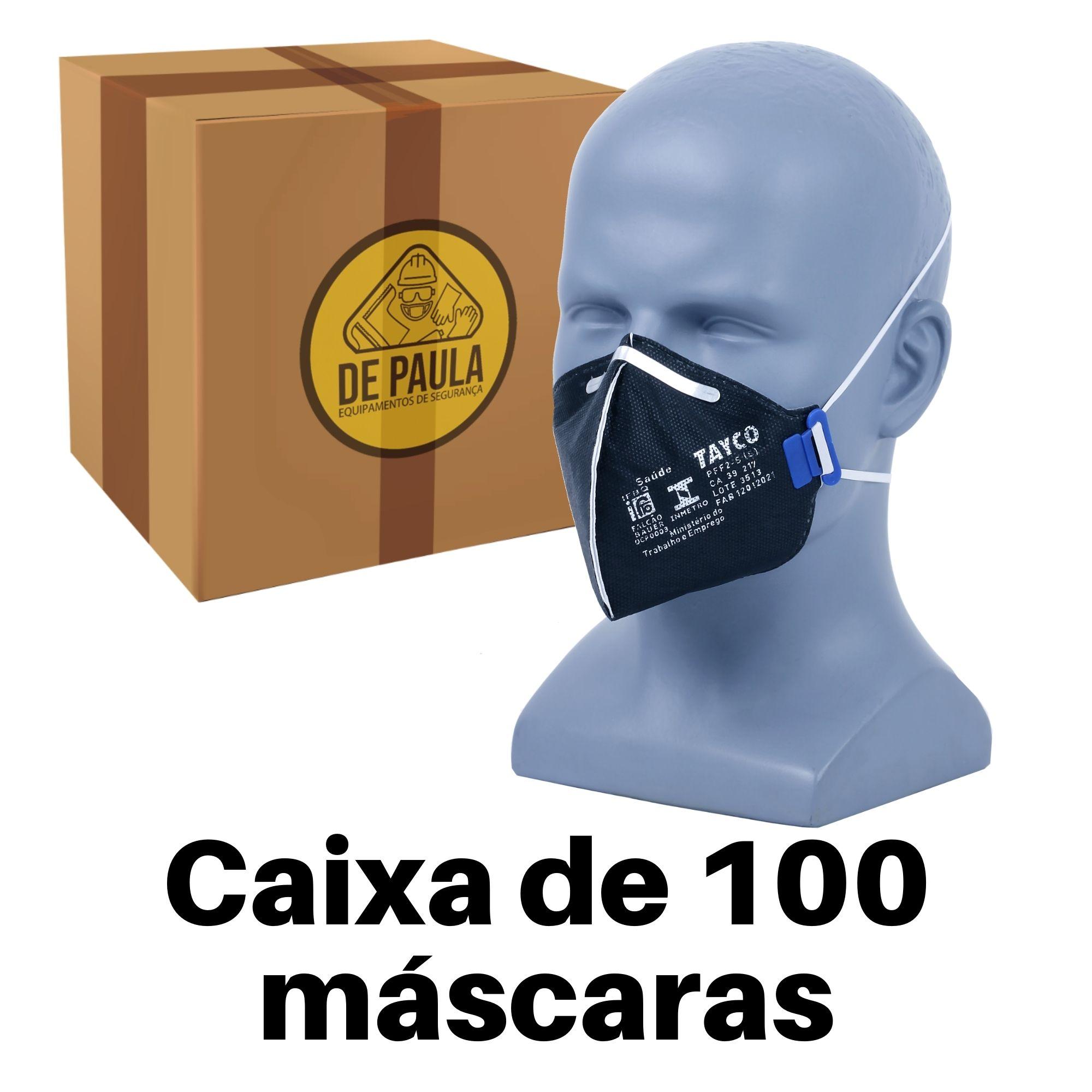 CAIXA COM 100 UN - MASCARA PFF2 -S  SEM VALVULA CARVÃO ATIVADO PRETA TAYCO  - DE PAULA EPI
