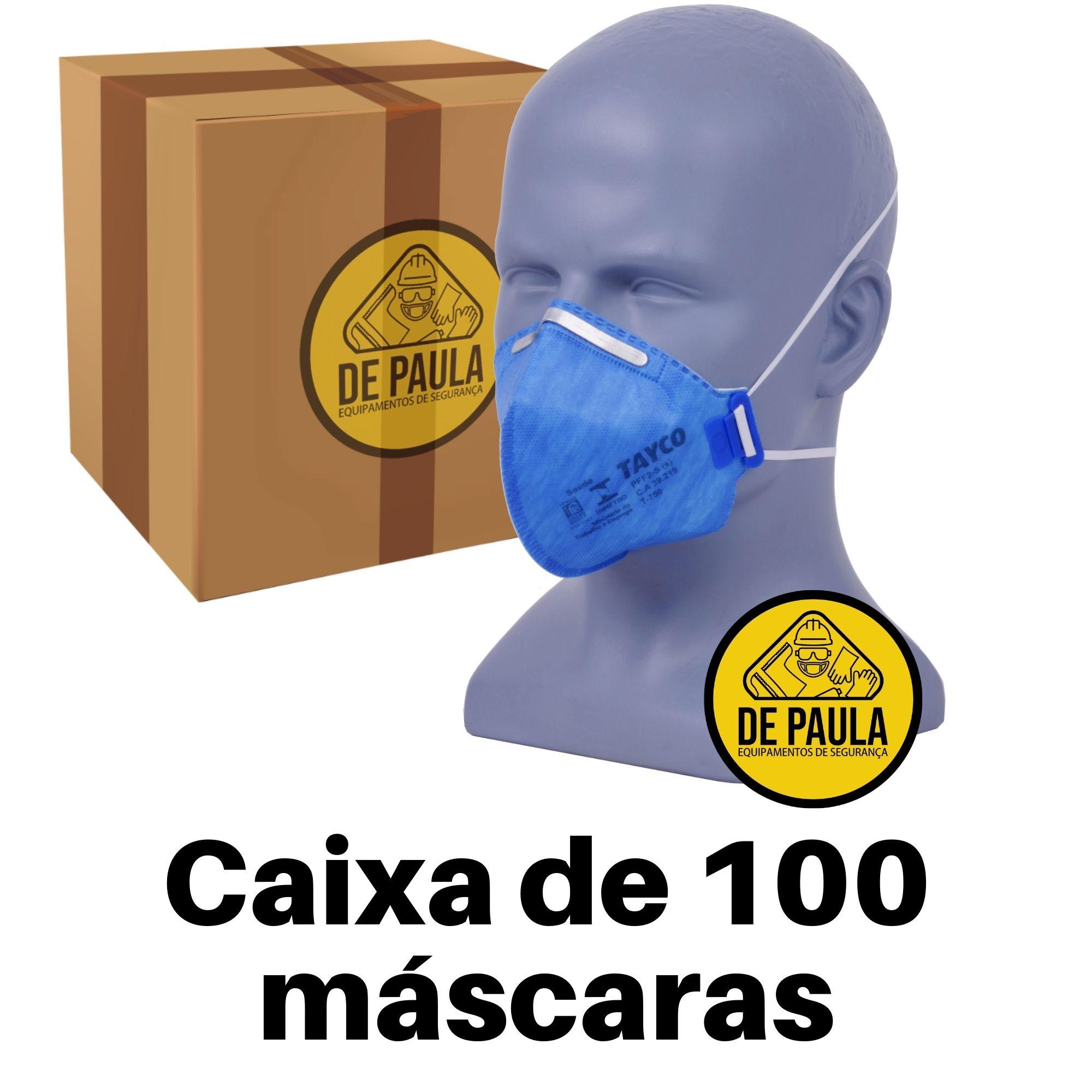 CAIXA DE 100 UN - MASCARA PFF2 -S SEM VÁLVULA AZUL TAYCO  - DE PAULA EPI