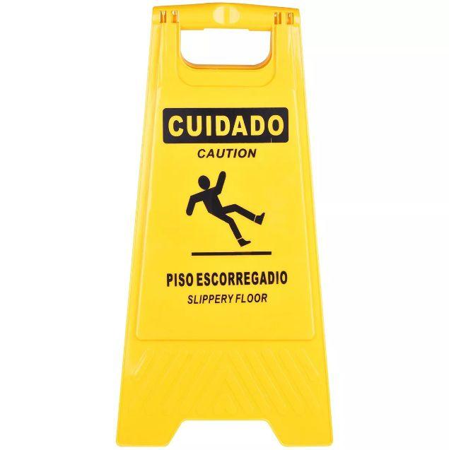 CAVALETE DUPLO AMARELO CUIDADO PISO ESCORREGADIO  - DE PAULA EPI