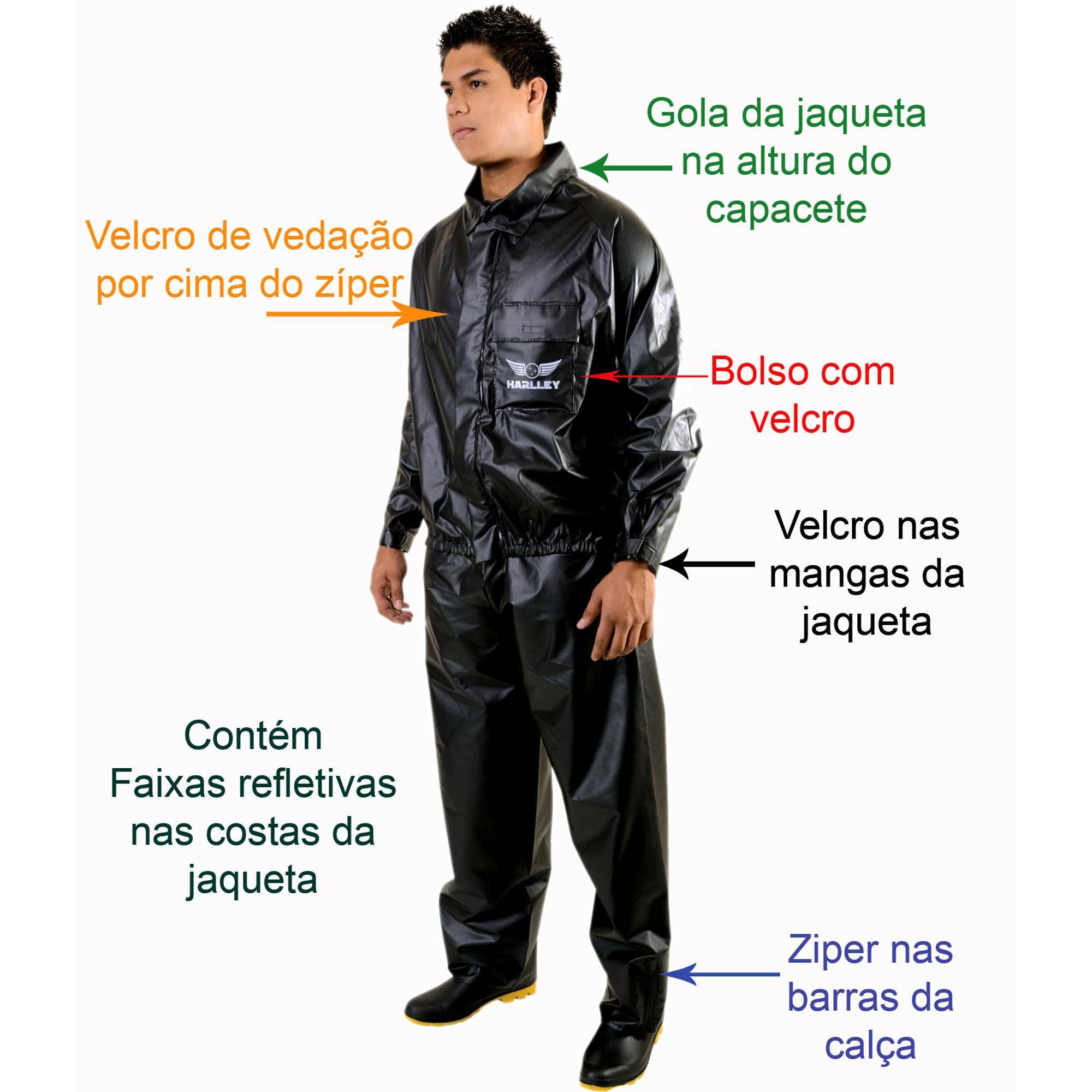 CONJUNTO IMPERMEÁVEL PVC FORRADO CALÇA E JAQUETA PRETO HARLLEY MOTOCICLISTA P  - DE PAULA EPIS