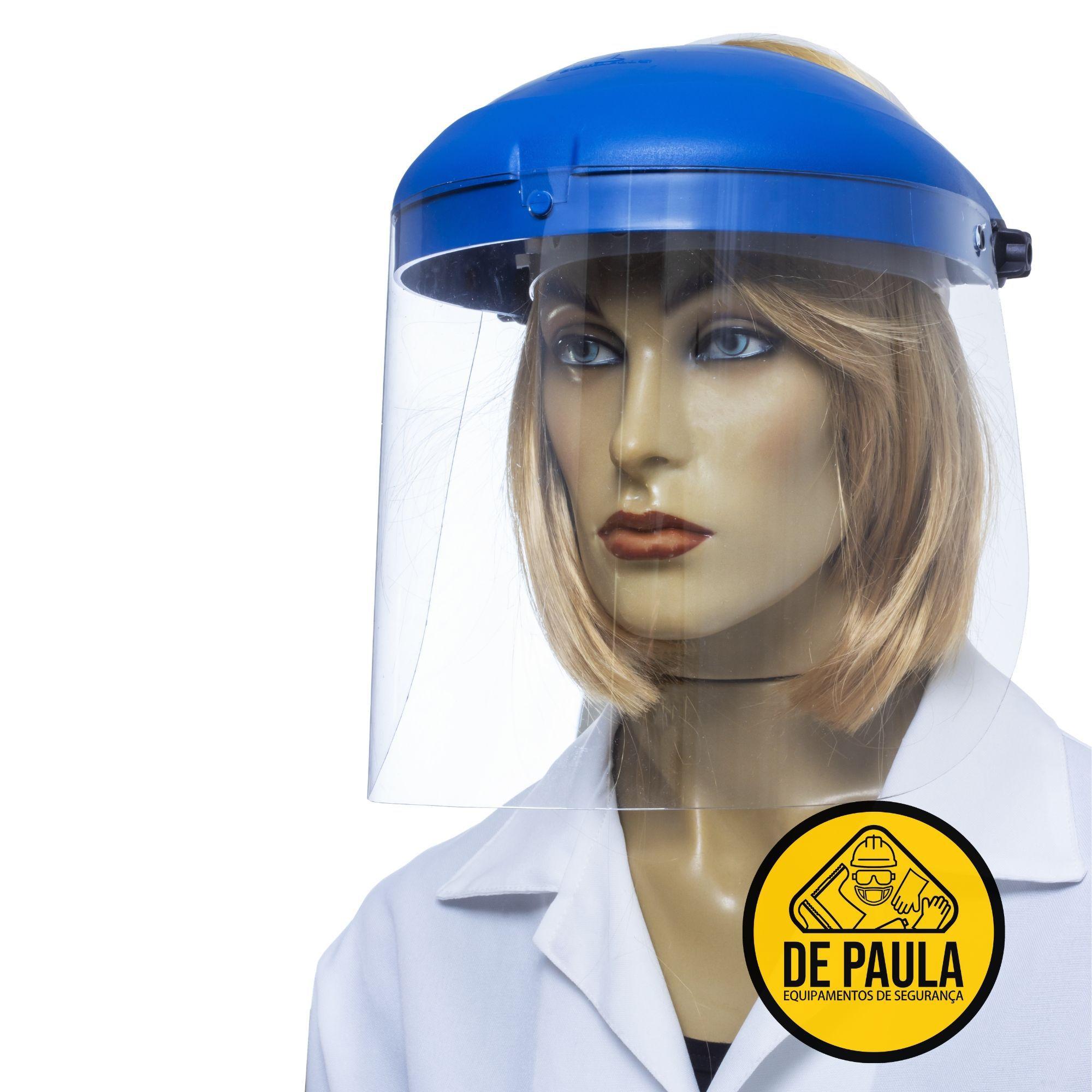 FACE SHIELD PROTETOR FACIAL  AZUL  COM VISOR INCOLOR  - DE PAULA EPI