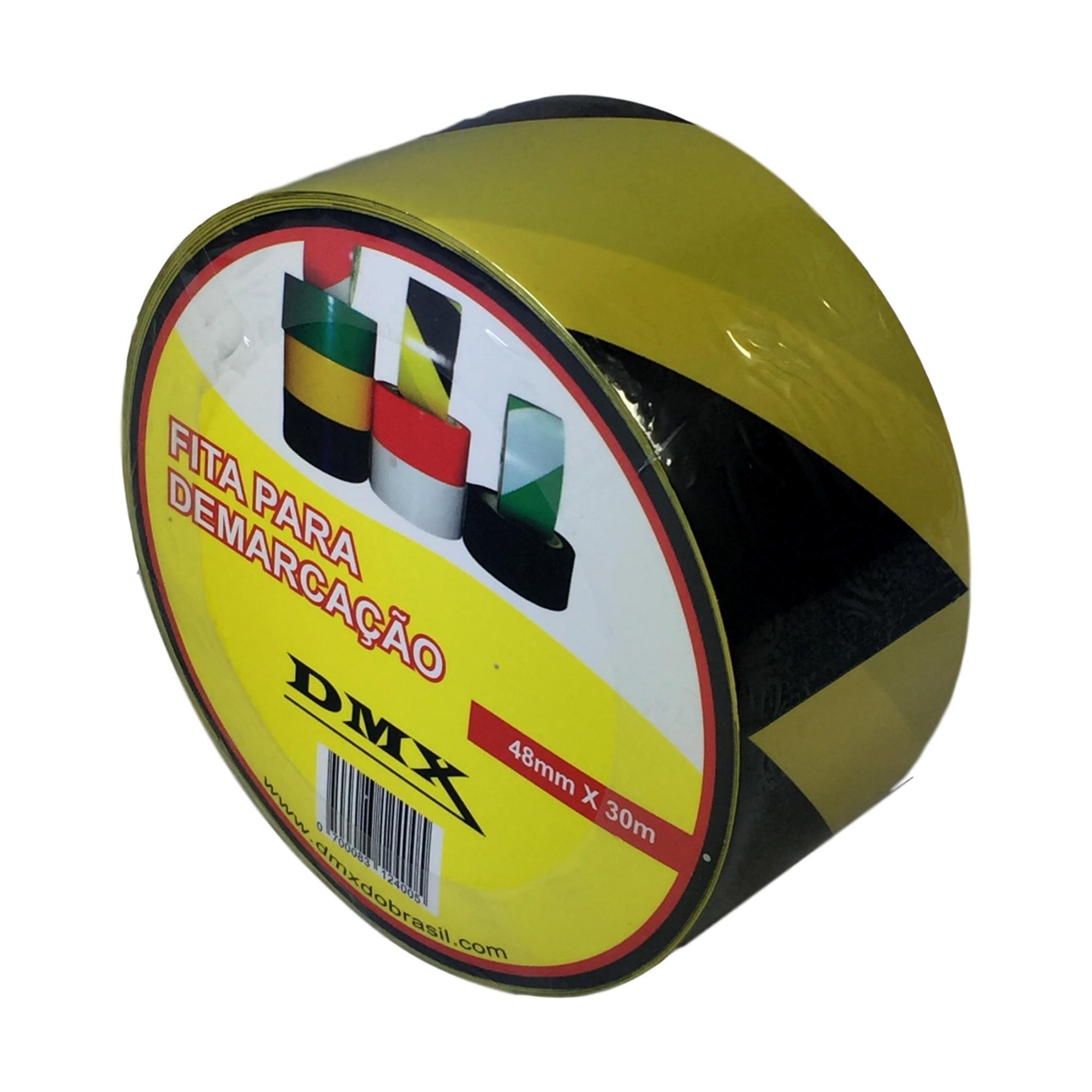 FITA ADESIVA DE DEMARCAÇÃO PISO, BLINDEX PRETO/AMARELO 48MM X 30MTS - PLASTCOR  - DE PAULA EPIS