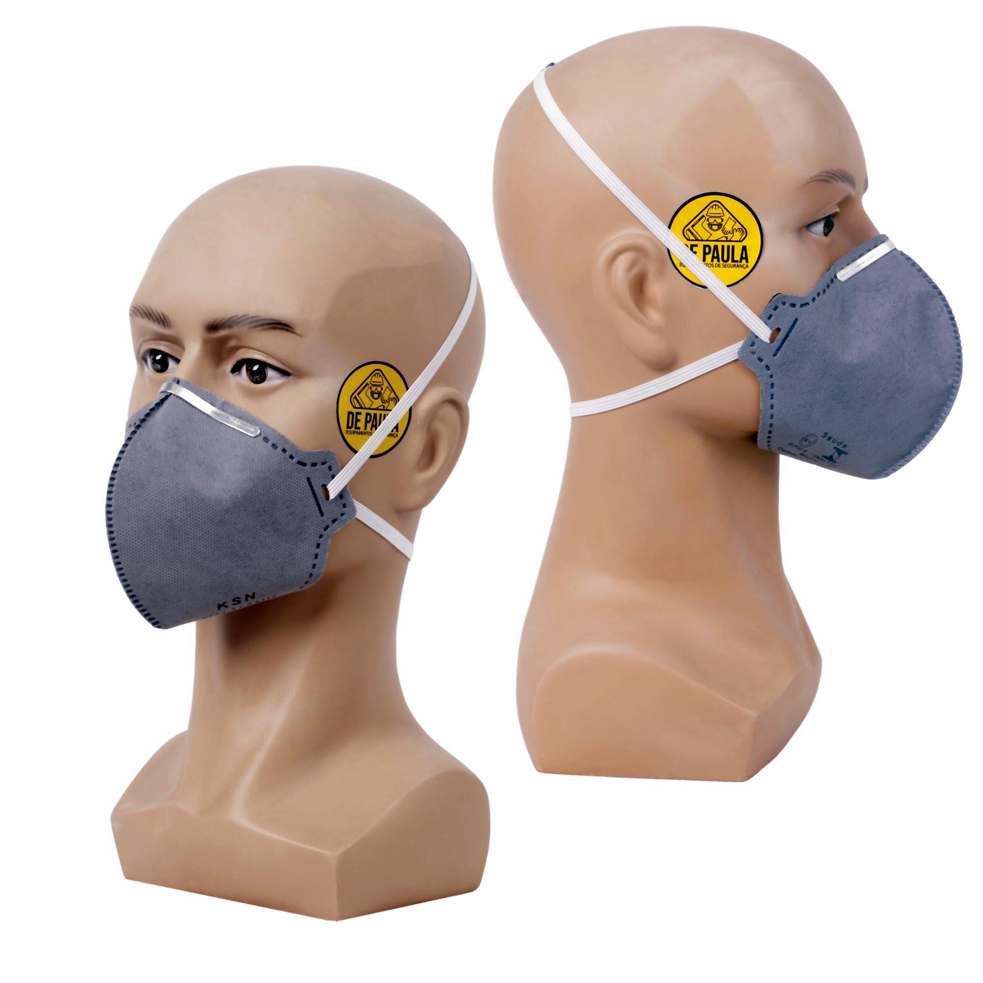 Kit 05 Mascaras de proteção - Cinza  com carvão ativado (filtra o ar) S/ Valvula N95 Pff2 Inmetro - KSN  - DE PAULA EPI