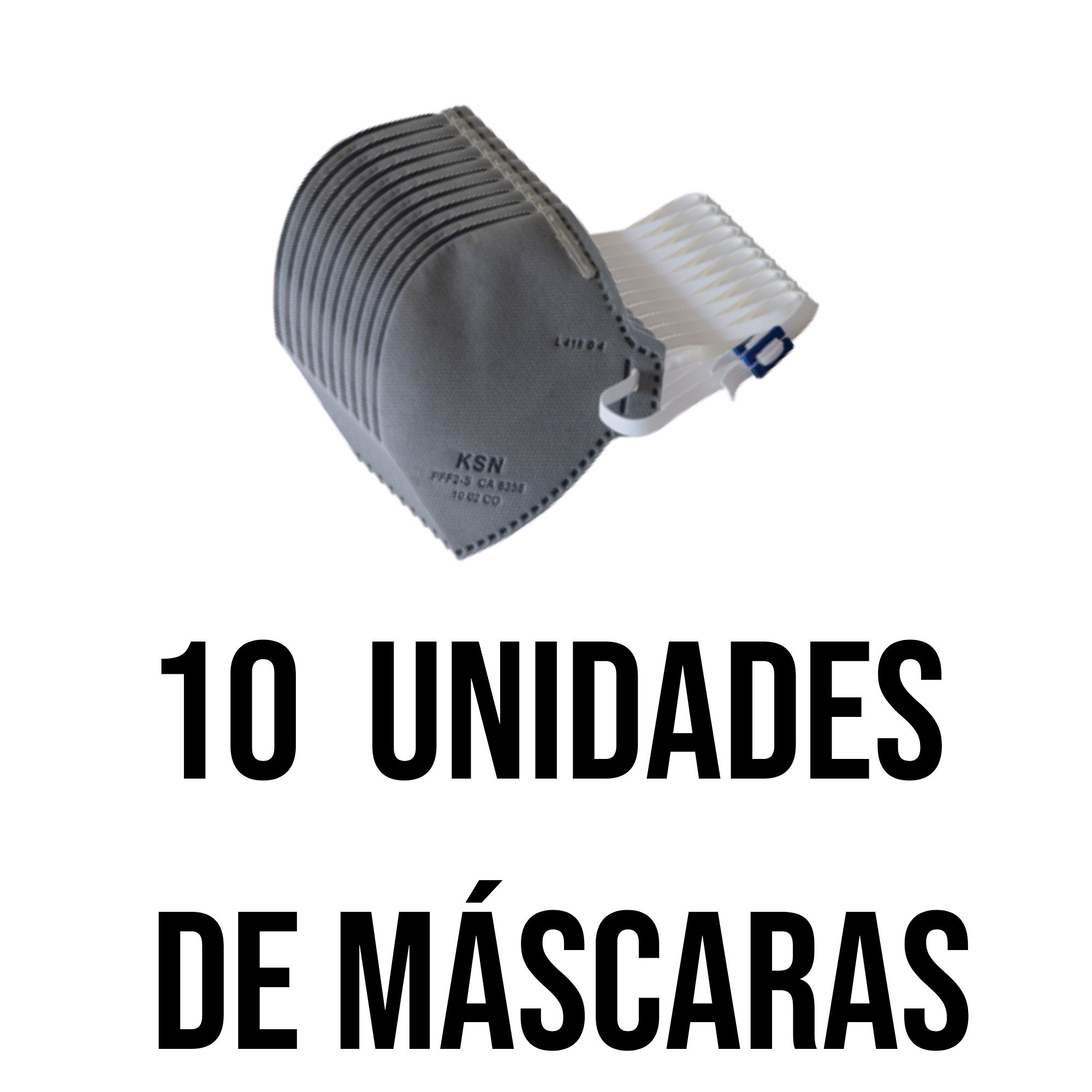Kit 10 Mascaras de proteção - Cinza  com carvão ativado (filtra o ar) S/ Valvula N95 Pff2 Inmetro - KSN  - DE PAULA EPI