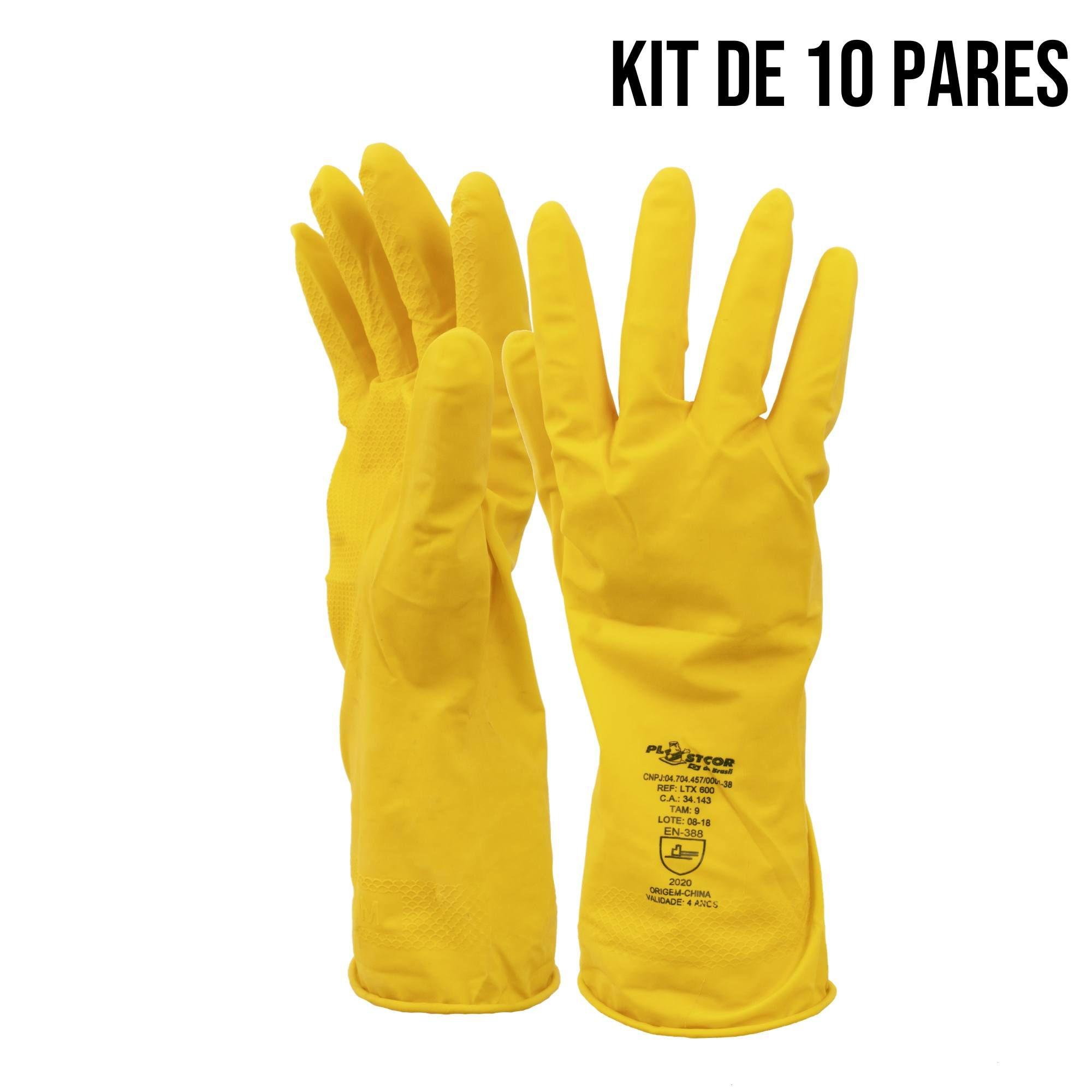kit 10 pares luva latex amarela acabamento liso ltx limpeza - C.A. 34143  - DE PAULA EPI