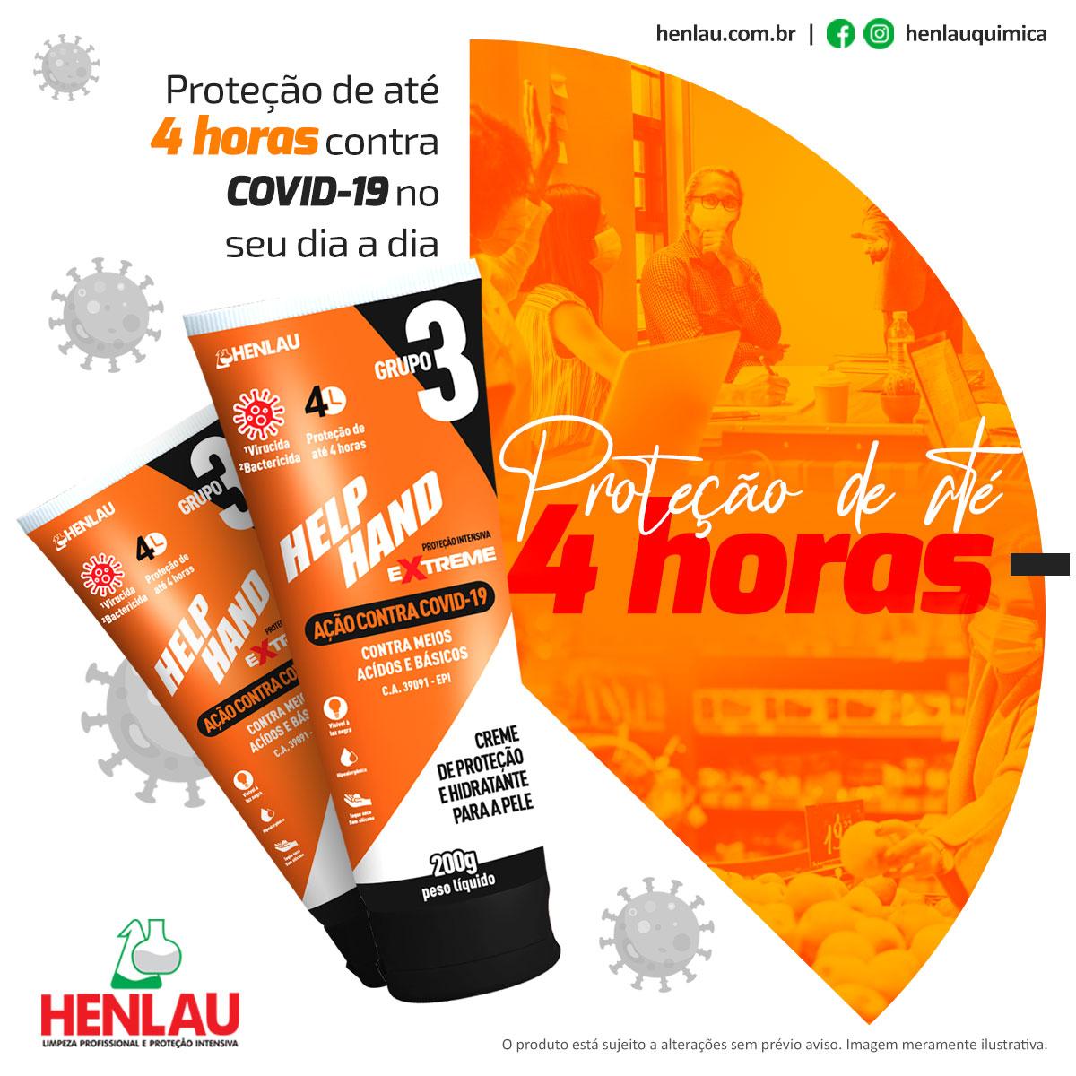 kit 2 bisnagas CREME DE PROTEÇÃO HELP HAND EXTREME AÇÃO CONTRA COVID-19  CA:39.091  - DE PAULA EPI