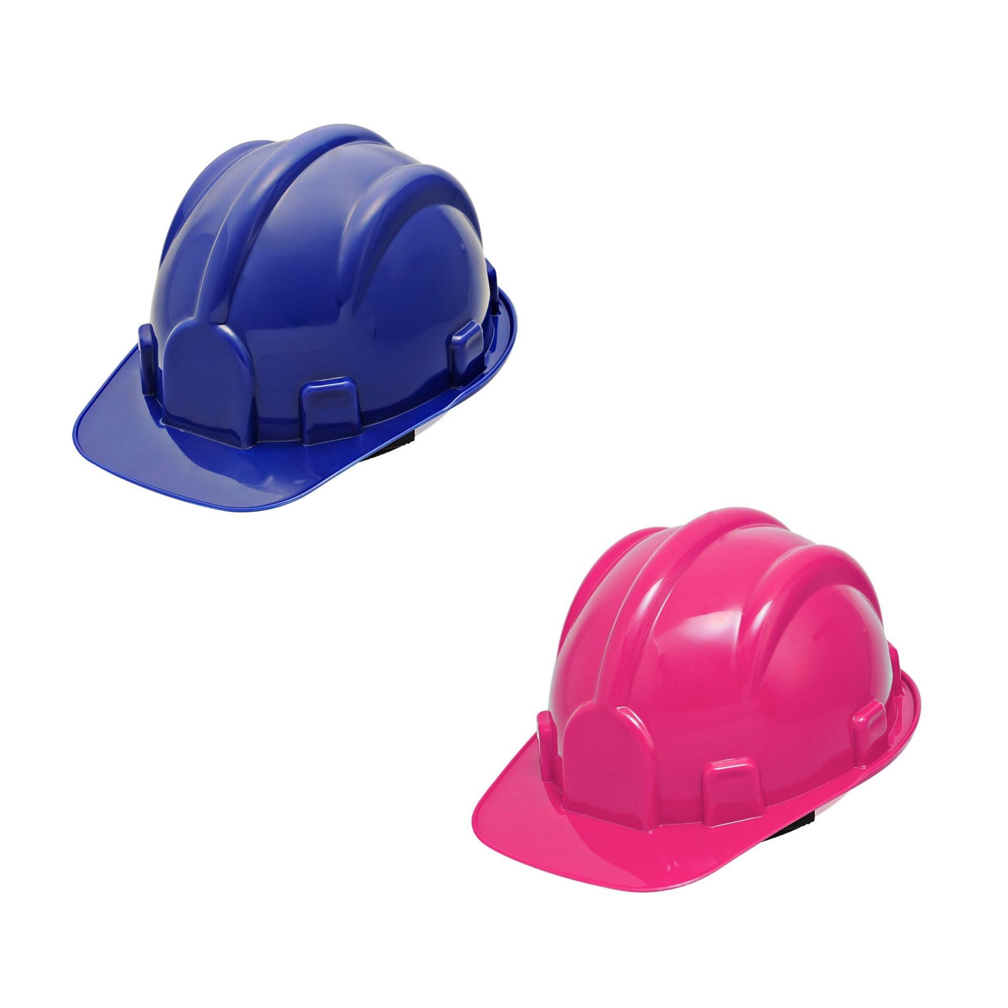 Kit 2 Pçs Capacete Segurança Cor Azul Completo Com Jugular  - DE PAULA EPI