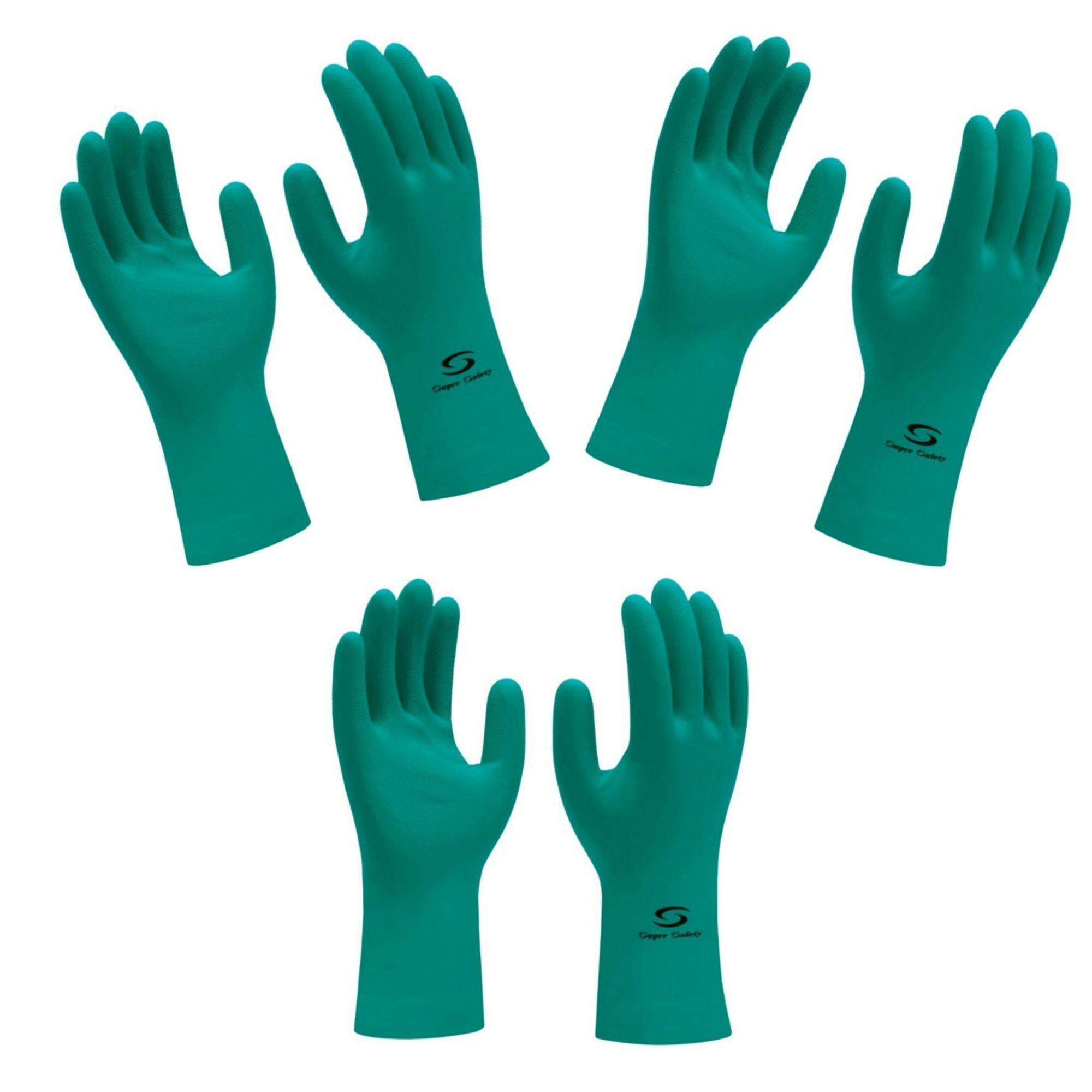 Kit 3 Pares Luva Nitrílica  Verde Nitrogreen - Super Safety- resistente a produtos químicos  - DE PAULA EPI