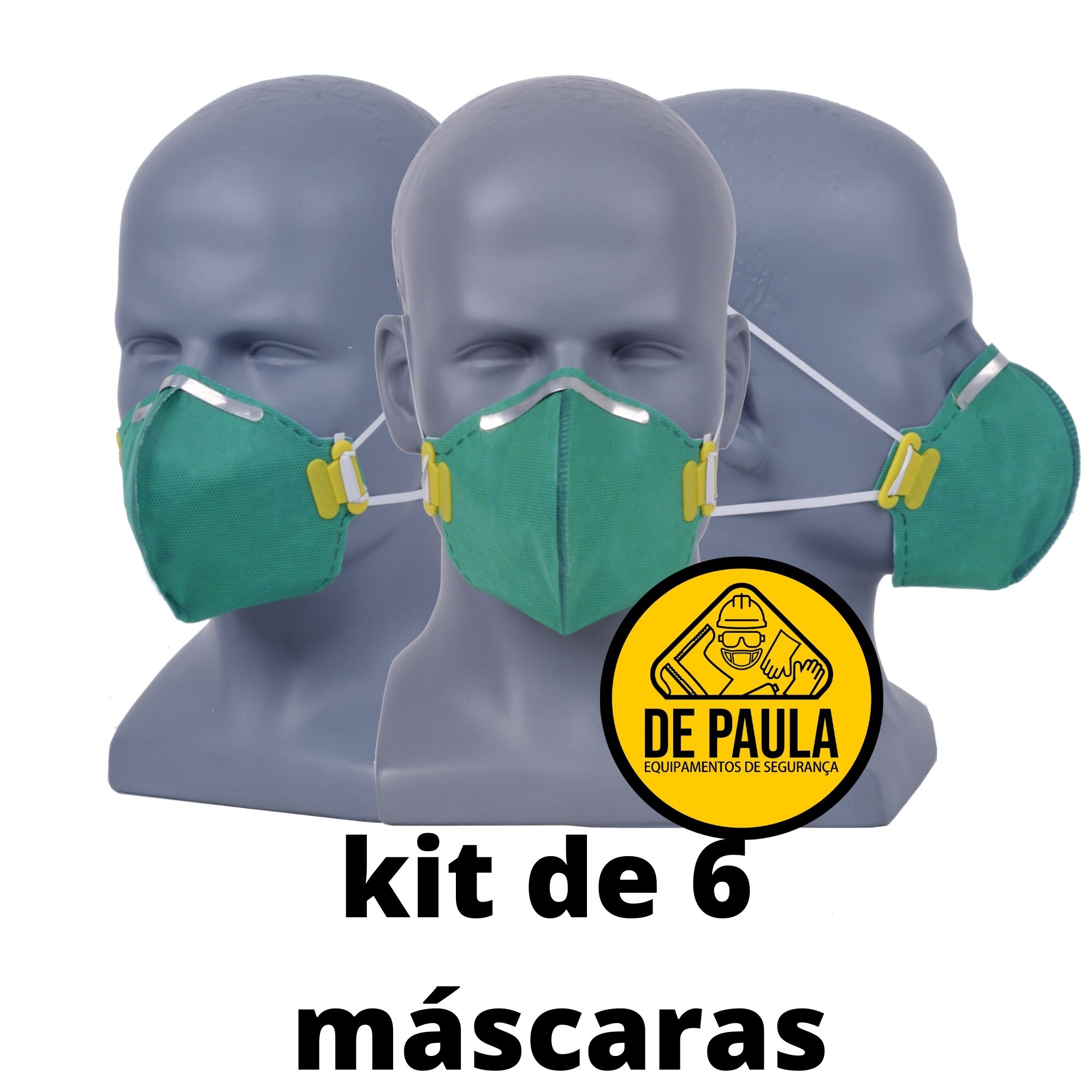 kit de 06 unidades de MÁSCARA DESCARTÁVEL PFF3 SEM VÁLVULA VERDE LUBEKA -CA38.834  - DE PAULA EPI