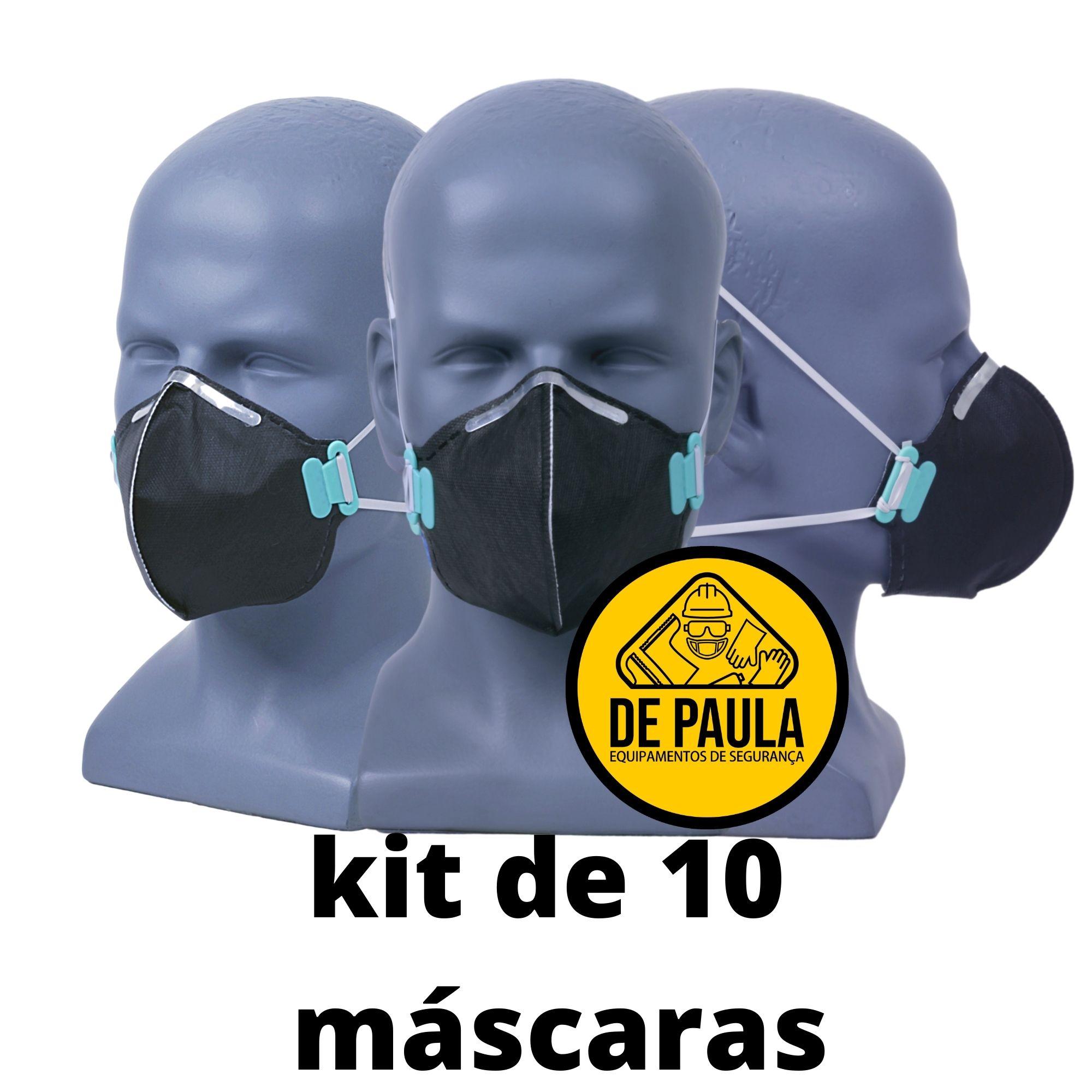 KIT DE 10 UN RESPIRADOR DESCARTÁVEL PFF2 ODOR ORGANICO CARVÃO ATIVADO - PRETA LUBEKA  - DE PAULA EPI
