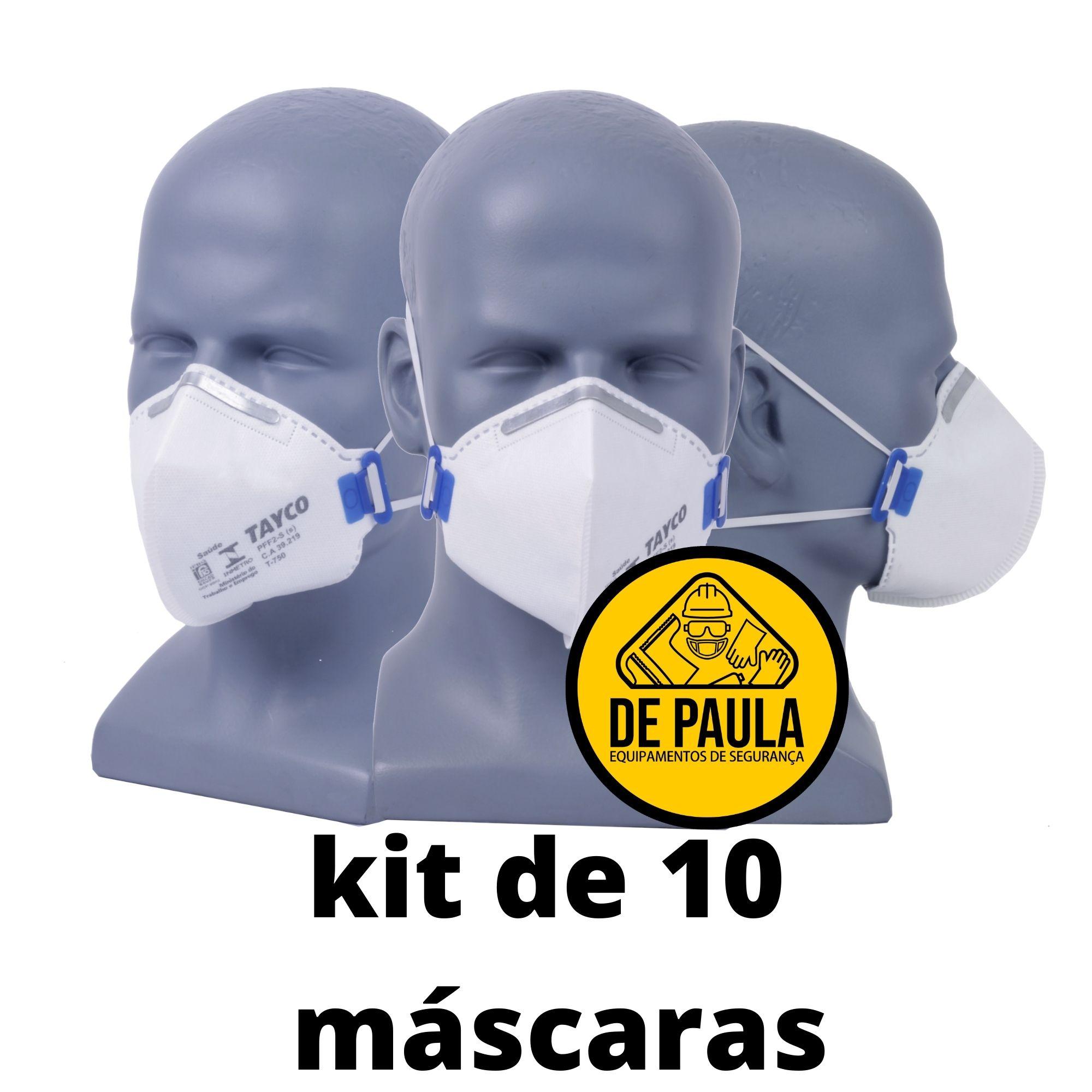 kit de 10 unid - Mascara descartavel Pff2 -S sem valvula BRANCA TAYCO  - DE PAULA EPI