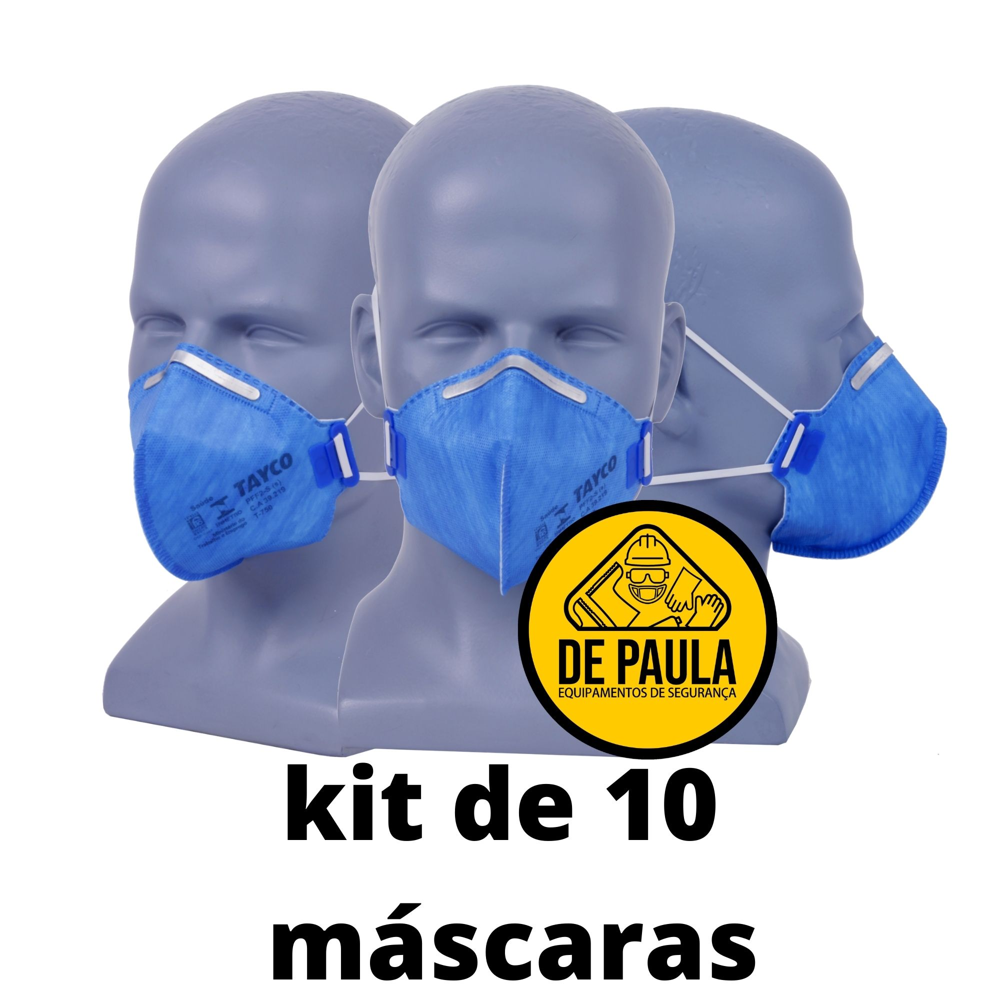 kit de 10 unid Mascara  PFF2 -S sem valvula AZUL TAYCO  - DE PAULA EPI