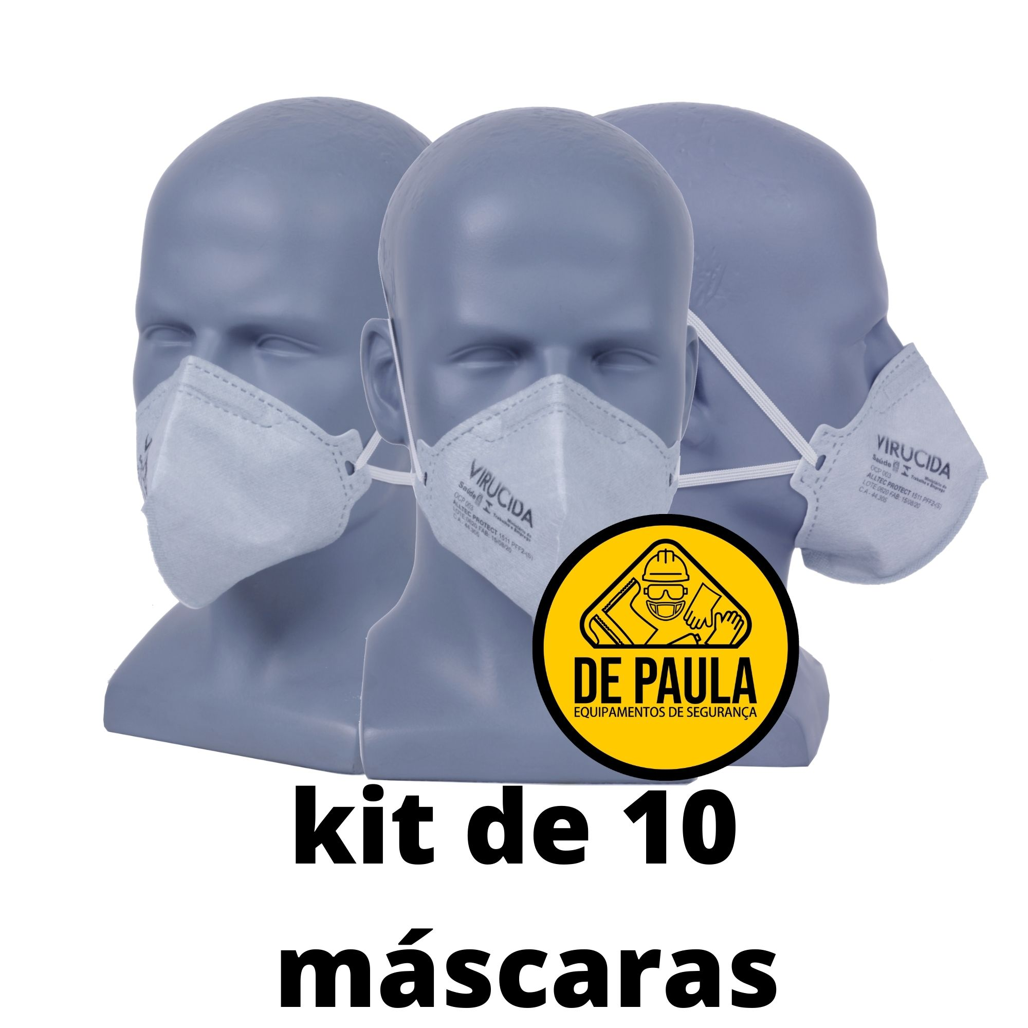 Kit de 10 unid - RESPIRADOR VIRUCIDA PFF2 -(S) SEM VALVULA - MASTT PROTECT ALLTEC -  CA:44.305  - DE PAULA EPI