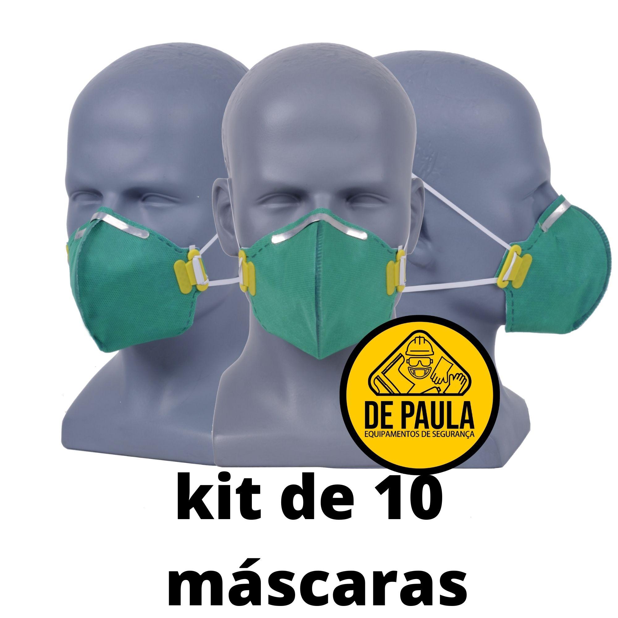 kit de 10 unidades de MÁSCARA DESCARTÁVEL PFF3 SEM VÁLVULA VERDE LUBEKA -CA38.834  - DE PAULA EPI