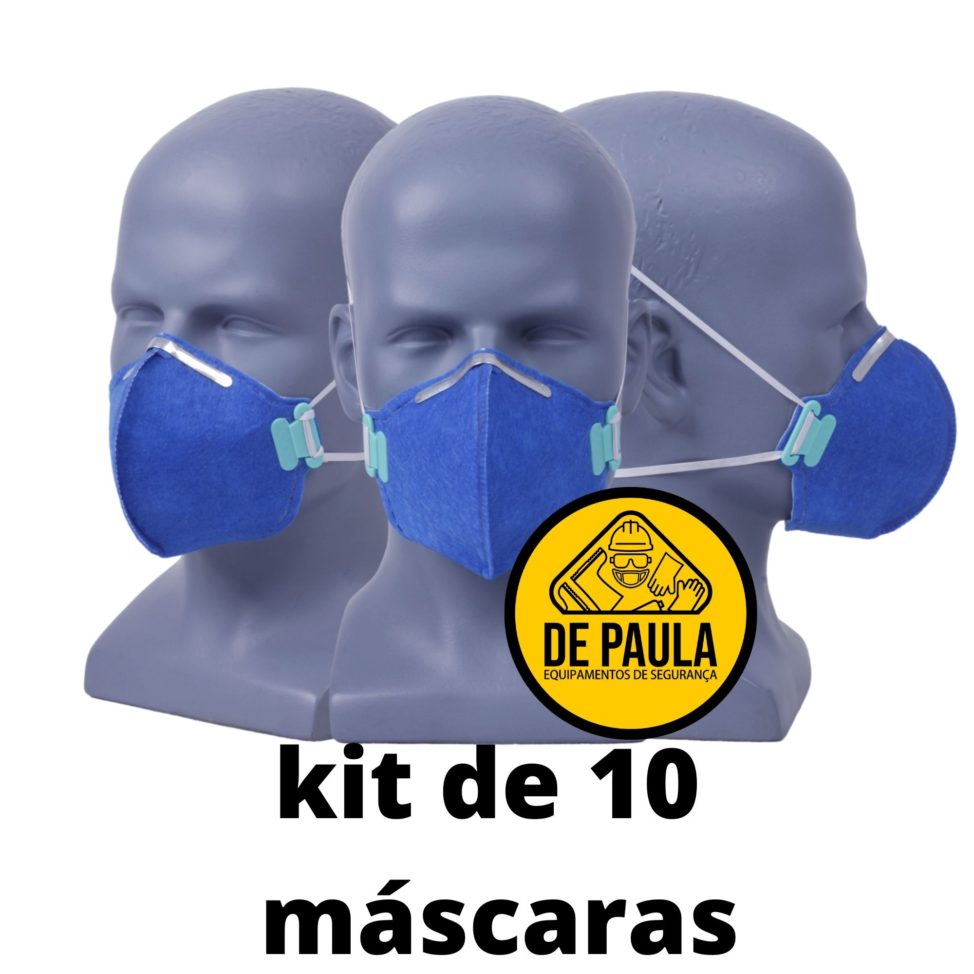 Kit de 10 unidades MÁSCARA DESCARTÁVEL PFF2 -S  AZUL - SEM VALVULA - LUBEKA CA38.830  - DE PAULA EPI