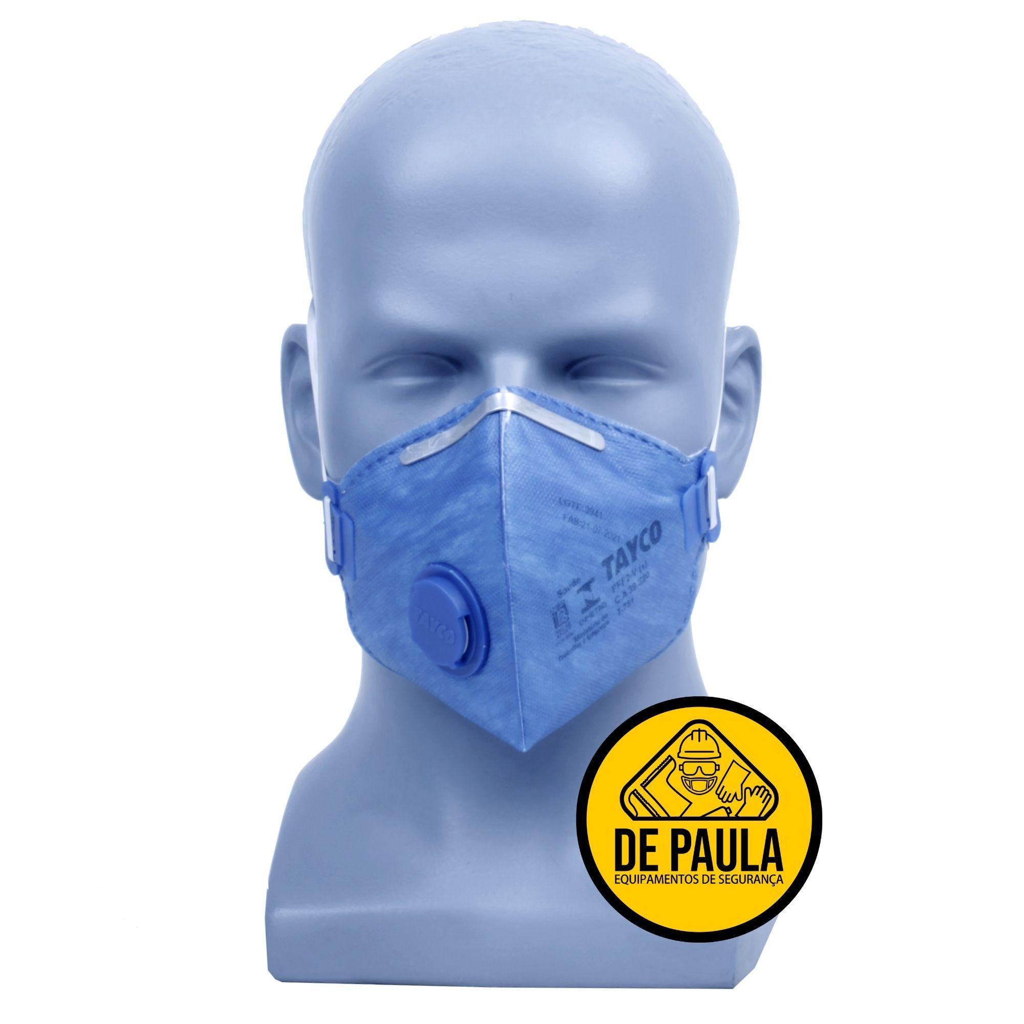 kit de 10 unidades máscara Pff2 (COM VALVULA ) AZUL - TAYCO  - DE PAULA EPI