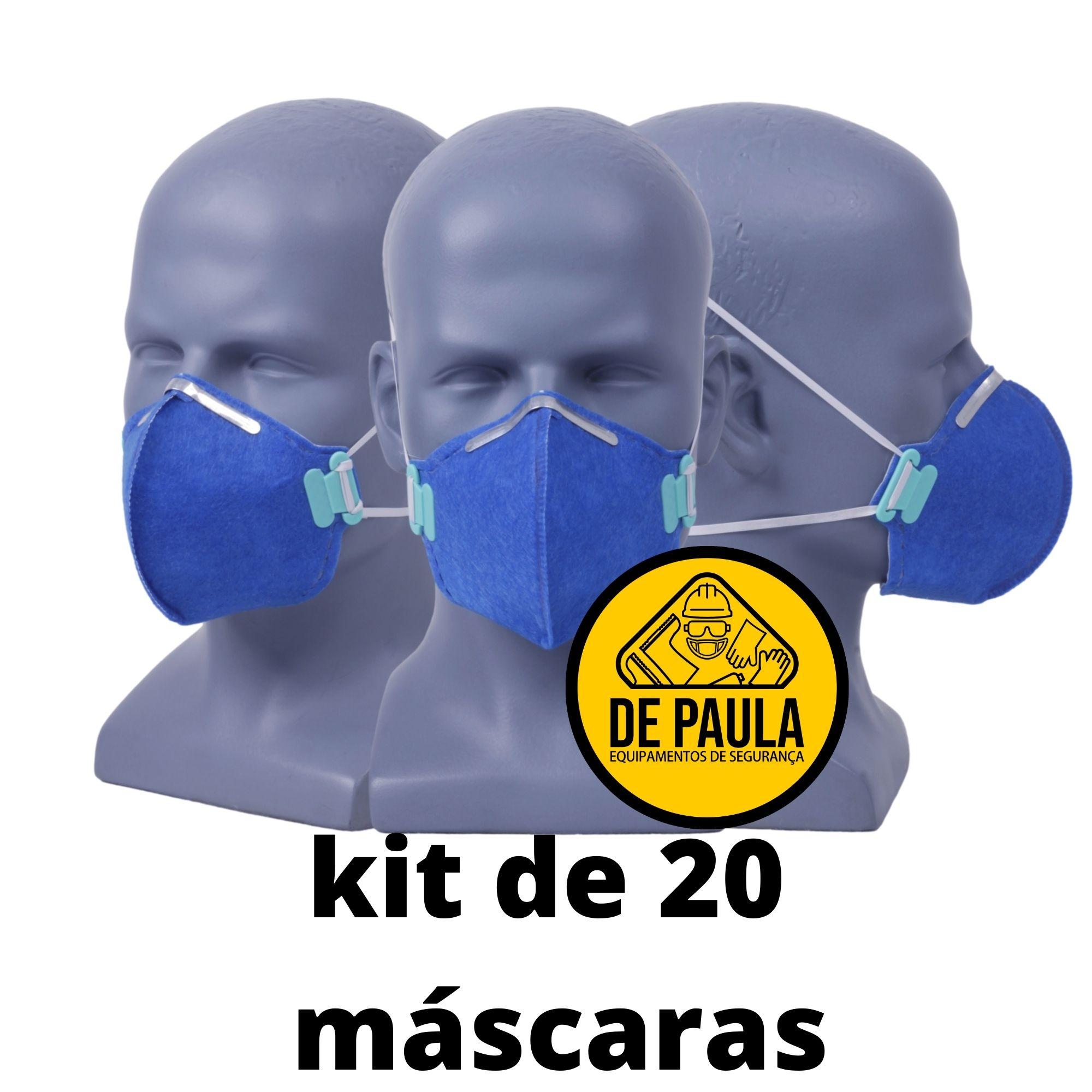 Kit de 20 unidades MÁSCARA DESCARTÁVEL PFF2 -S  AZUL - SEM VALVULA - LUBEKA CA38.830  - DE PAULA EPI