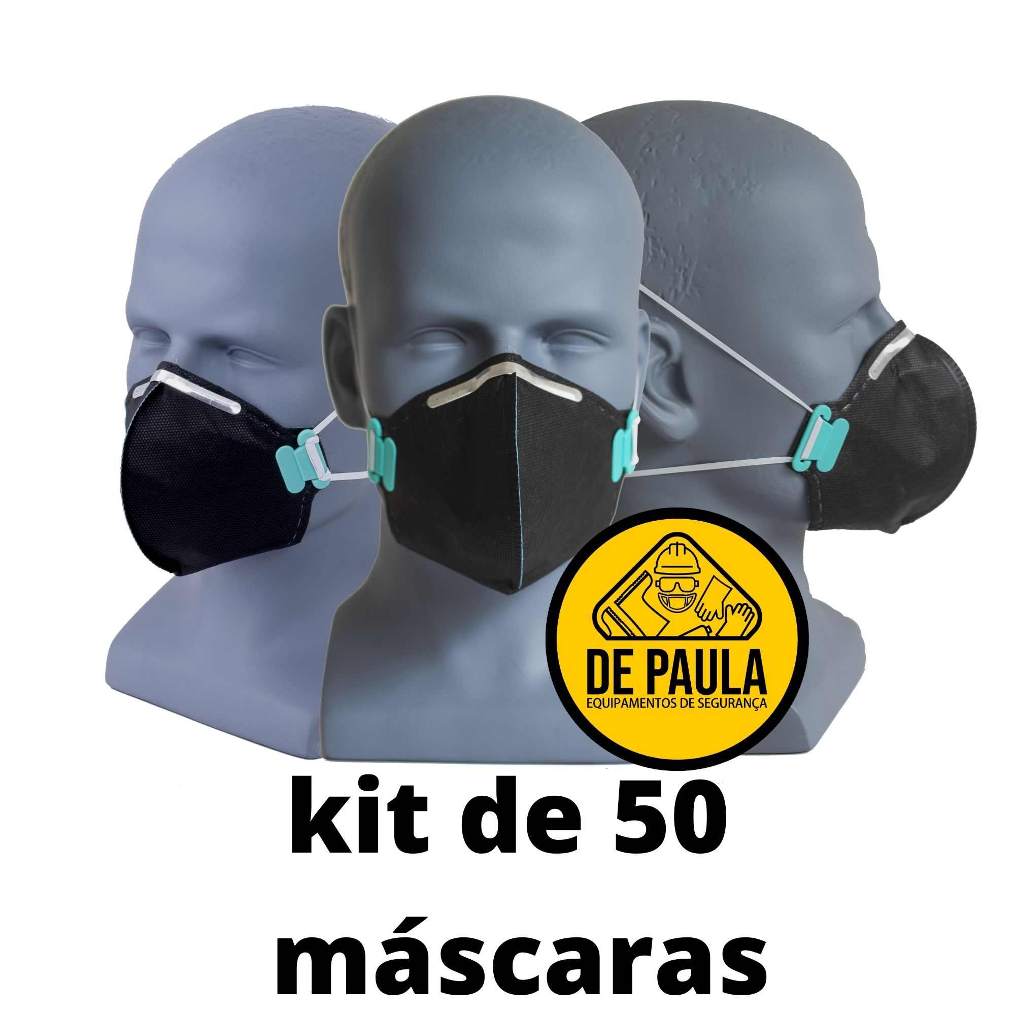 KIT DE 50 UN RESPIRADOR DESCARTÁVEL PFF2 ODOR ORGANICO CARVÃO ATIVADO - PRETA LUBEKA  - DE PAULA EPI