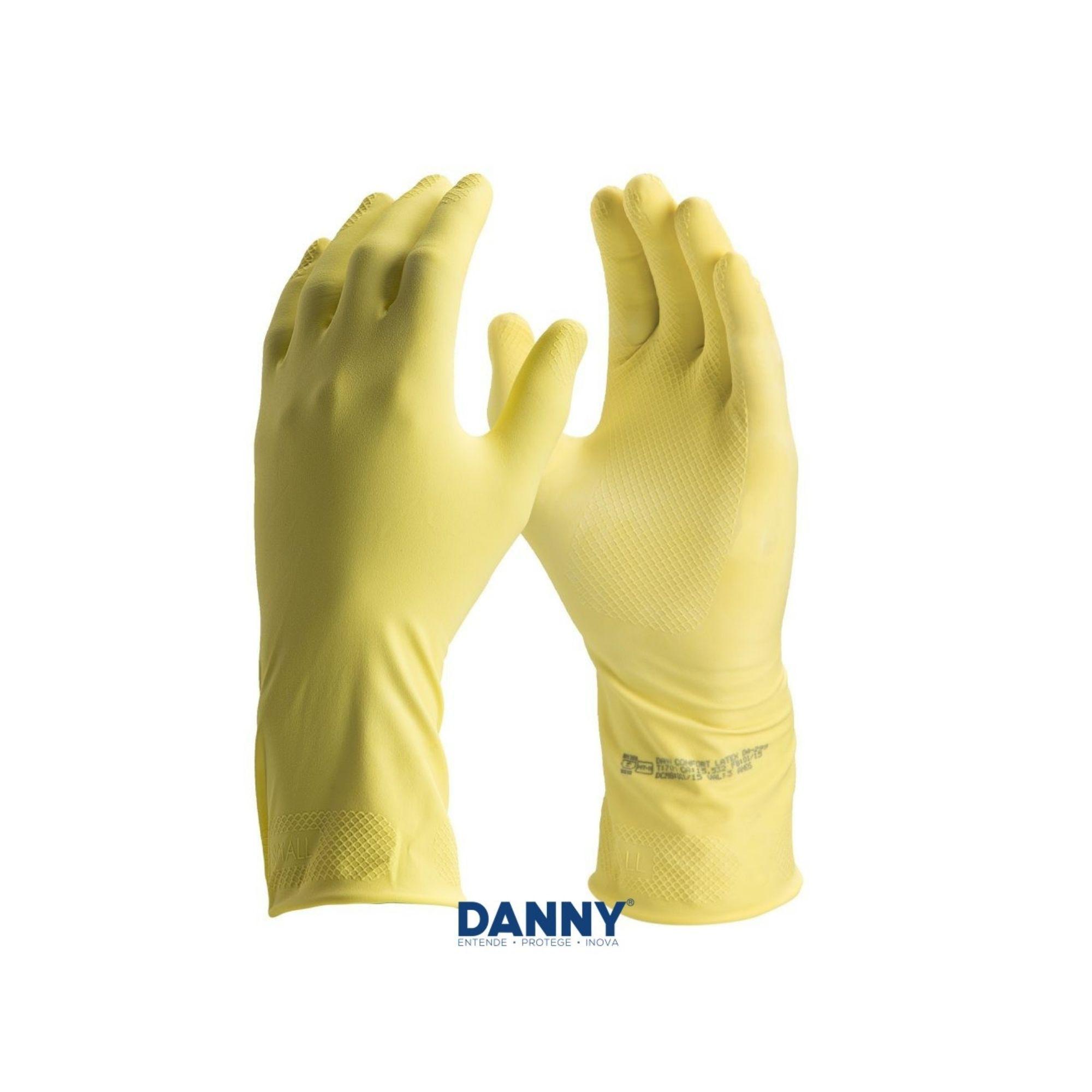 kit de 5 pares de luva de limpeza latex confort Amarela antiderrapante DANNY - CA15.532  - DE PAULA EPI