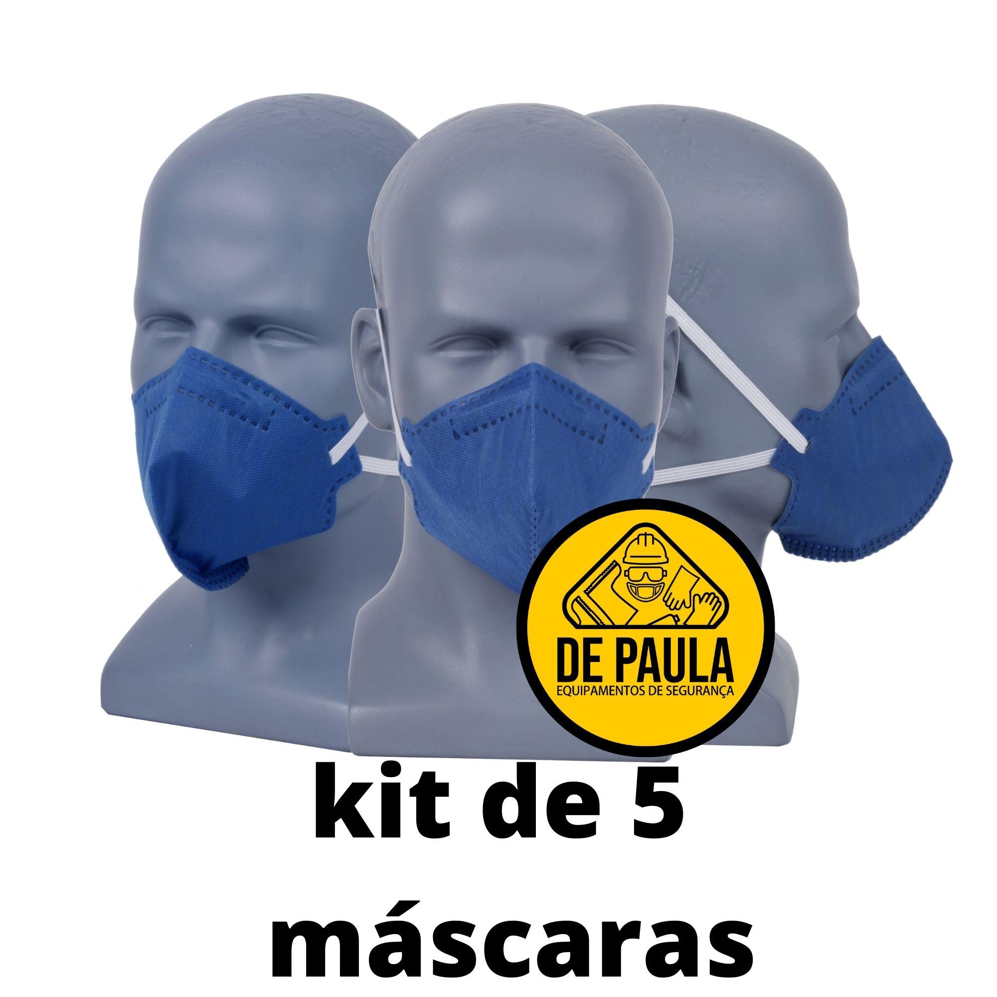 kit de 5 unid Mascara azul PFF2-S sem valvula Odor Organico carvão ativado Delta plus  - DE PAULA EPI